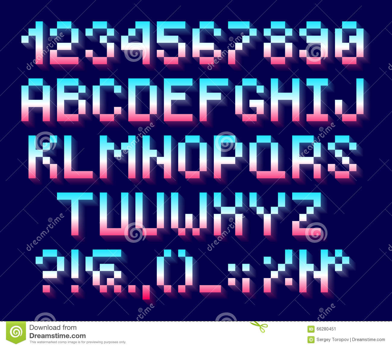 Pixel Font, Alphabet And Numbers Stock Vector