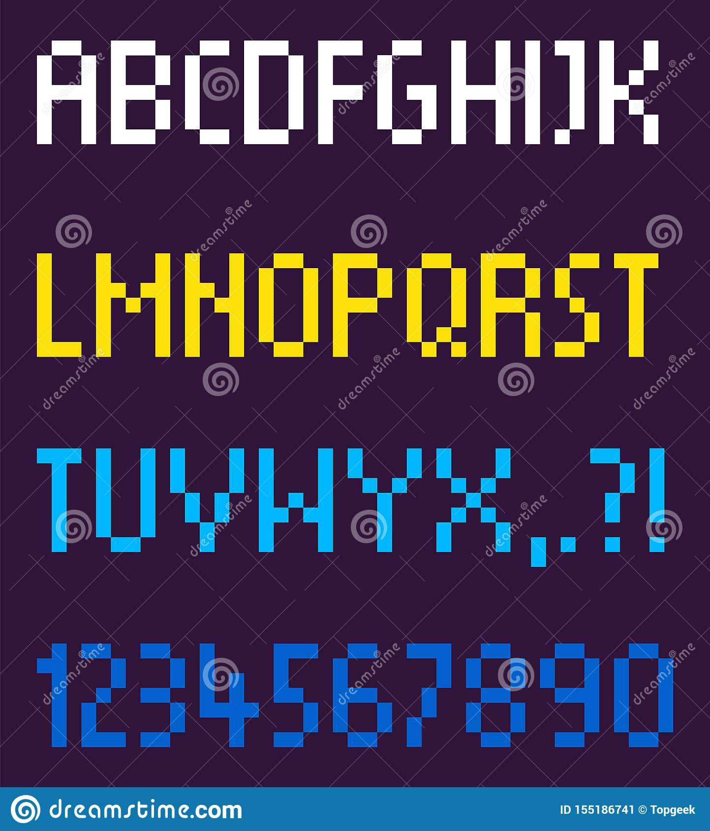 Pixel Font Alphabetic Order And Numbers Vector Stock