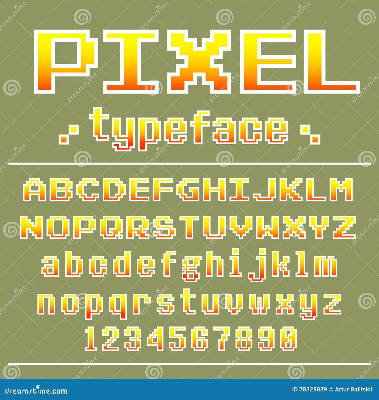 Pixel Font, 8 Bit Typeface For Retro Games Design Stock