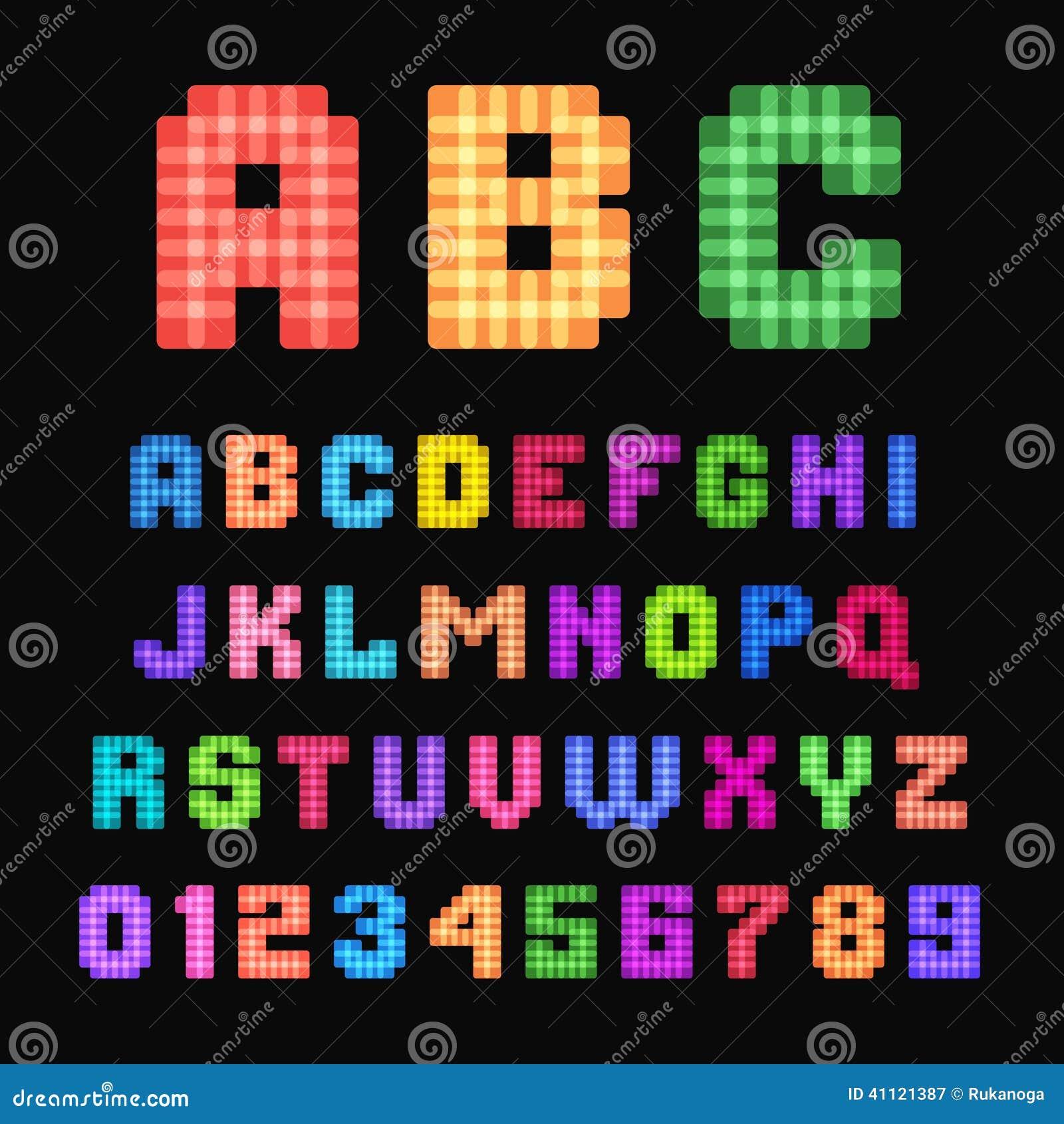Pixel Font. Stock Vector. Illustration Of Multicolor