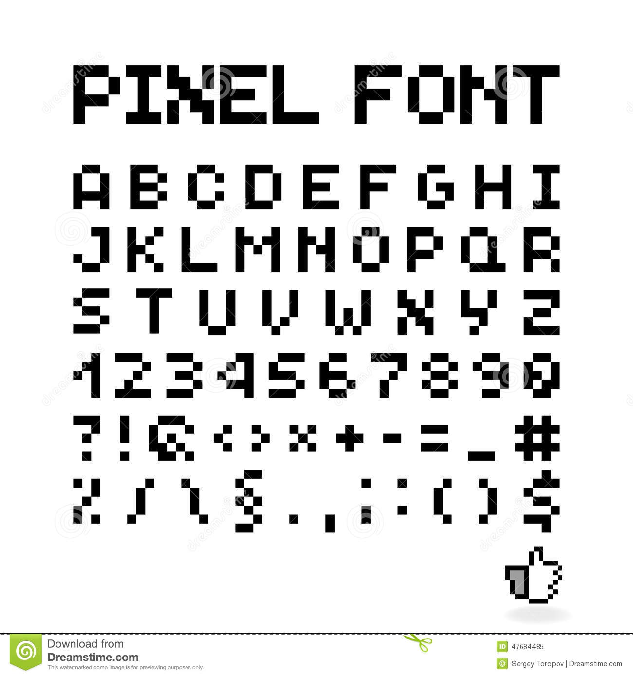 pixel font  isolated vector letters  alphabet stock vector