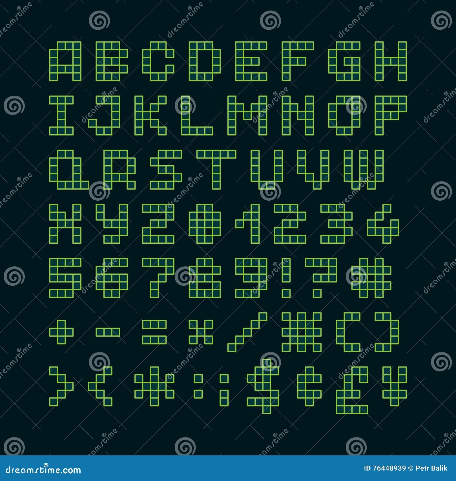 Pixel Font In 4x5 Pixel Grid Stock Vector - Illustration of