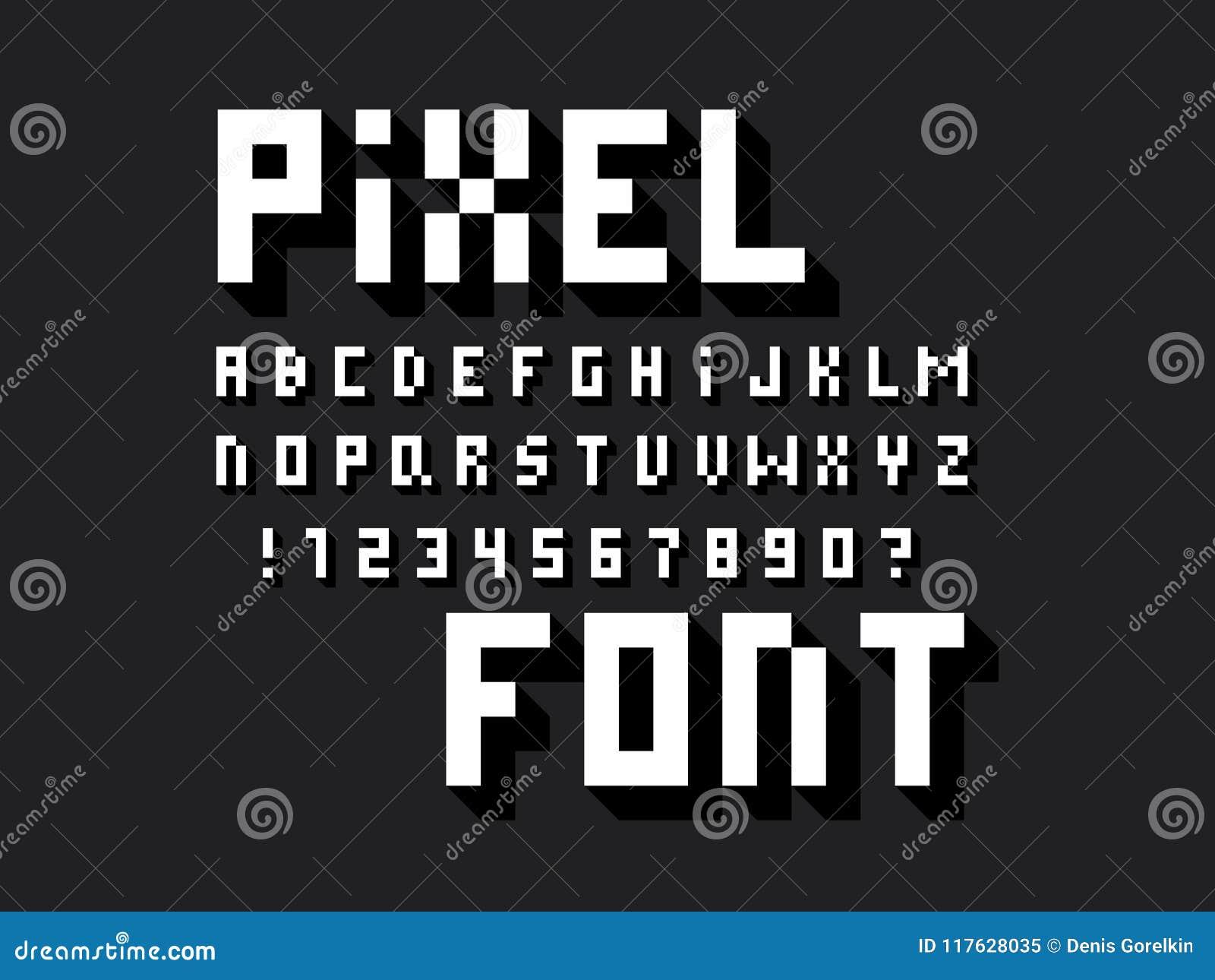 Pixel Font  Vector Alphabet Stock Vector - Illustration of