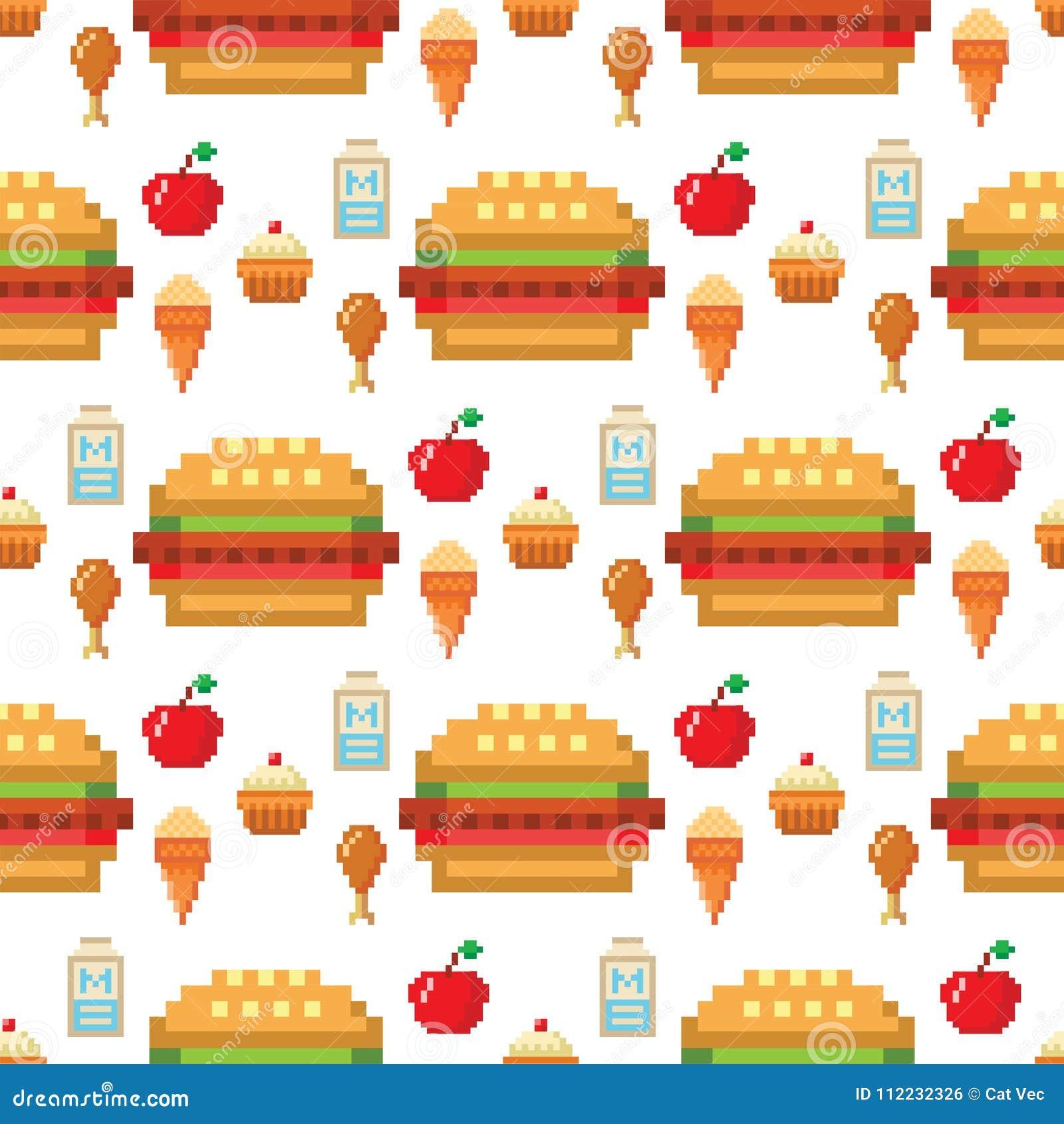 Pixel Art Food Computer Design Seamless Pattern Background Vector Illustration Restaurant Pixelated Element Fast Food Stock Vector Illustration Of Healthy Pear 112232326