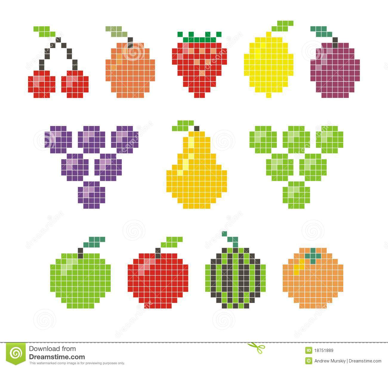 Pixel Fruit Icons Stock Vector. Illustration Of Peach