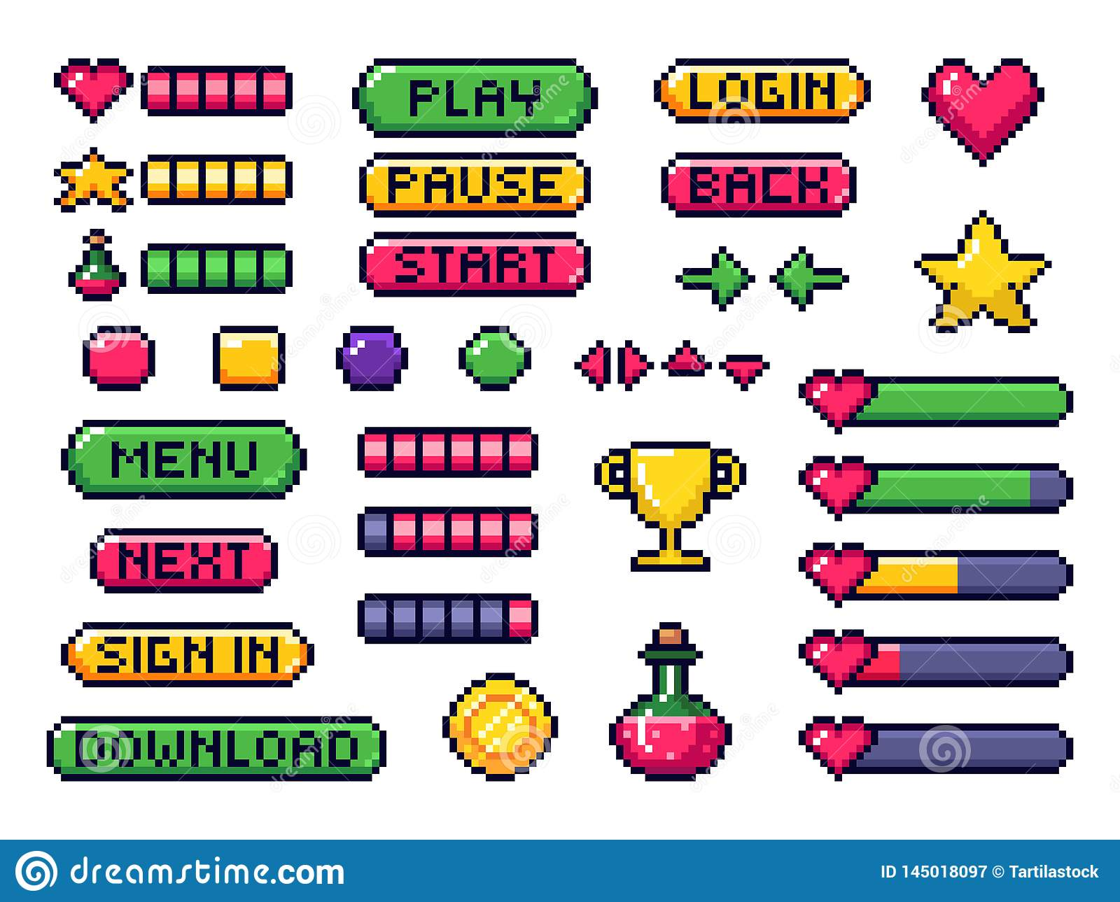 Pixel Game Buttons. Games UI, Gaming Controller Arrows And 8 ...