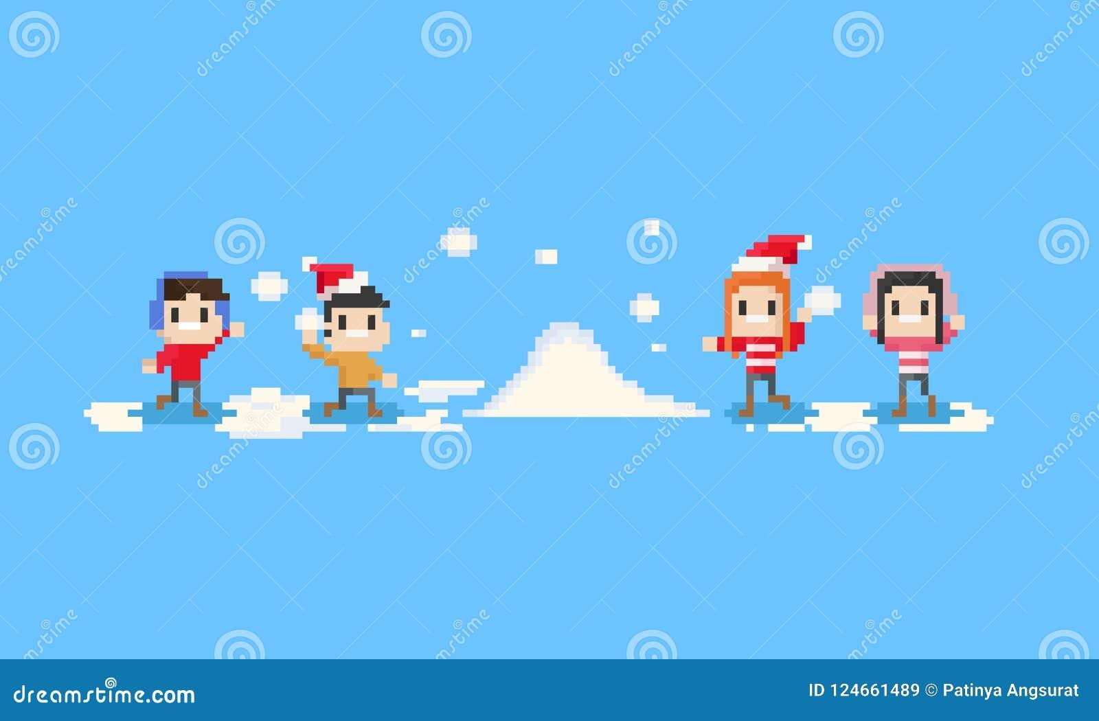 Pixel gelukkige kinderen die de sneeuw spelen met 8 bits Kerstmis