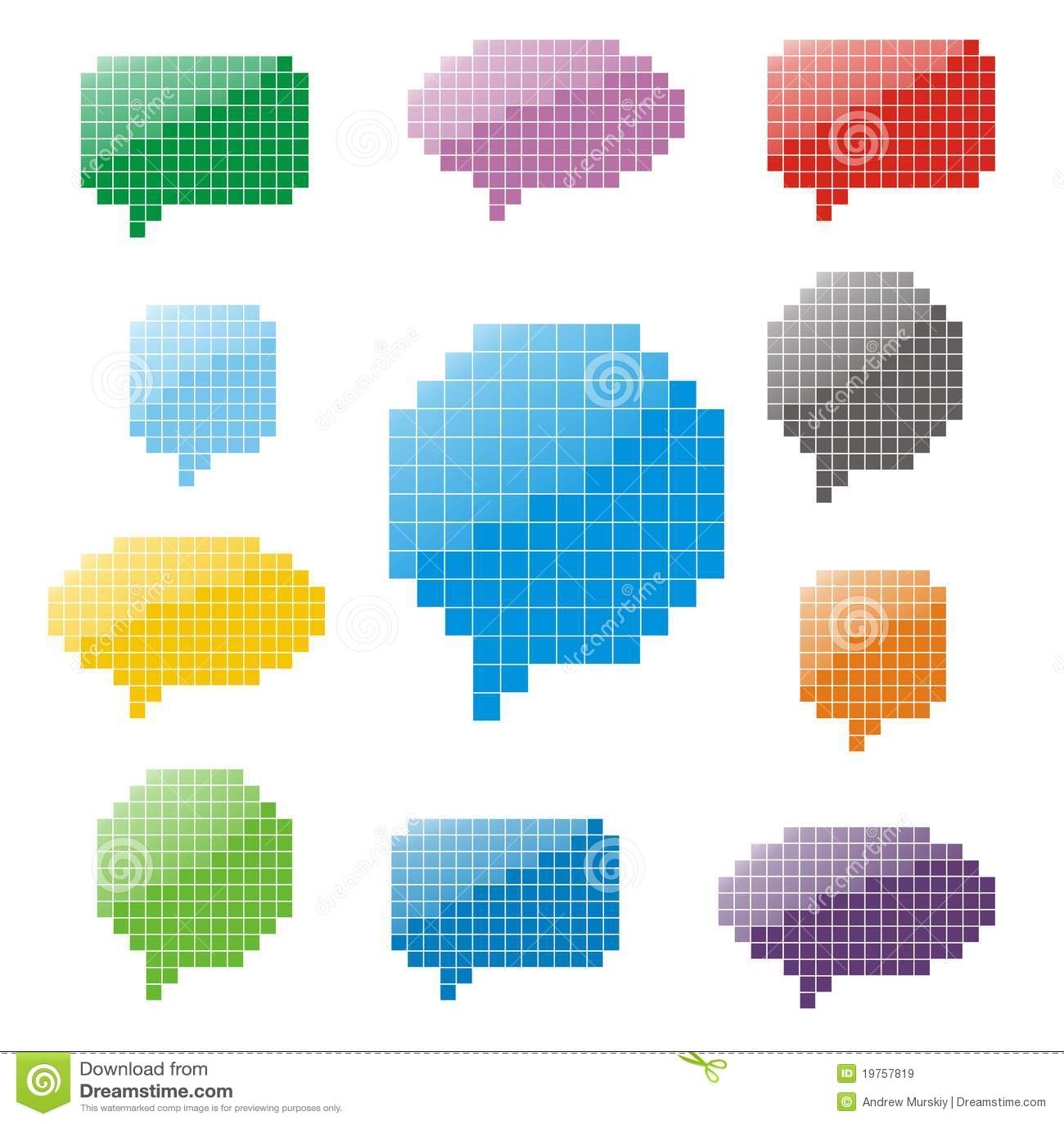 Pixel Glossy Speech Bubbles Stock Vector