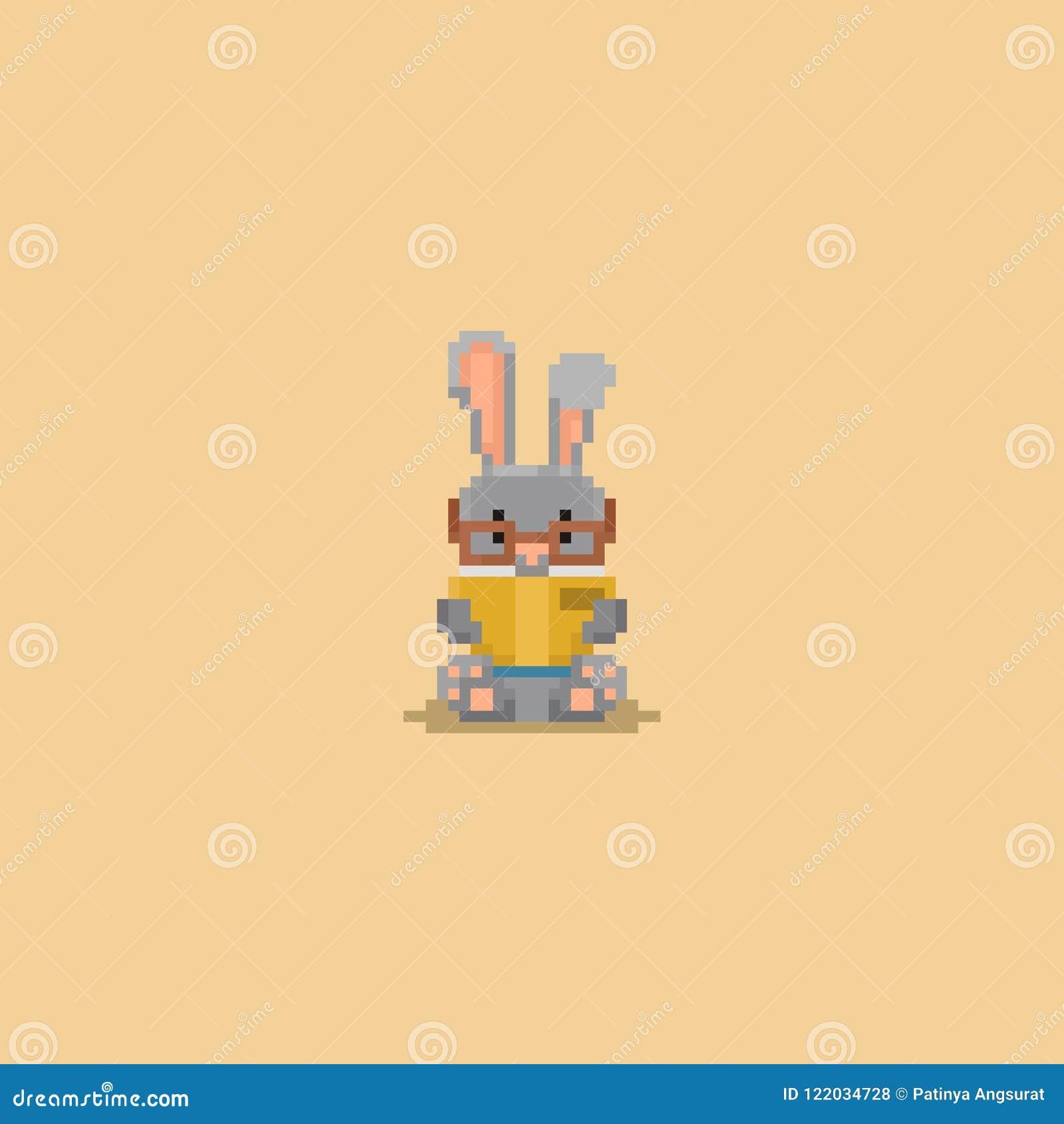 Pixel happy children in autumn costume.8bit character.