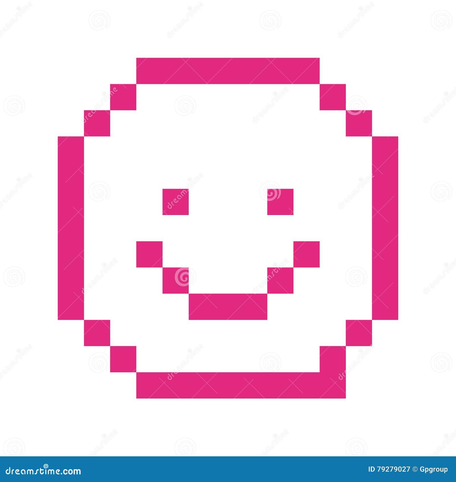 Pixel Art Emoji Emoticon Set Vector Illustration