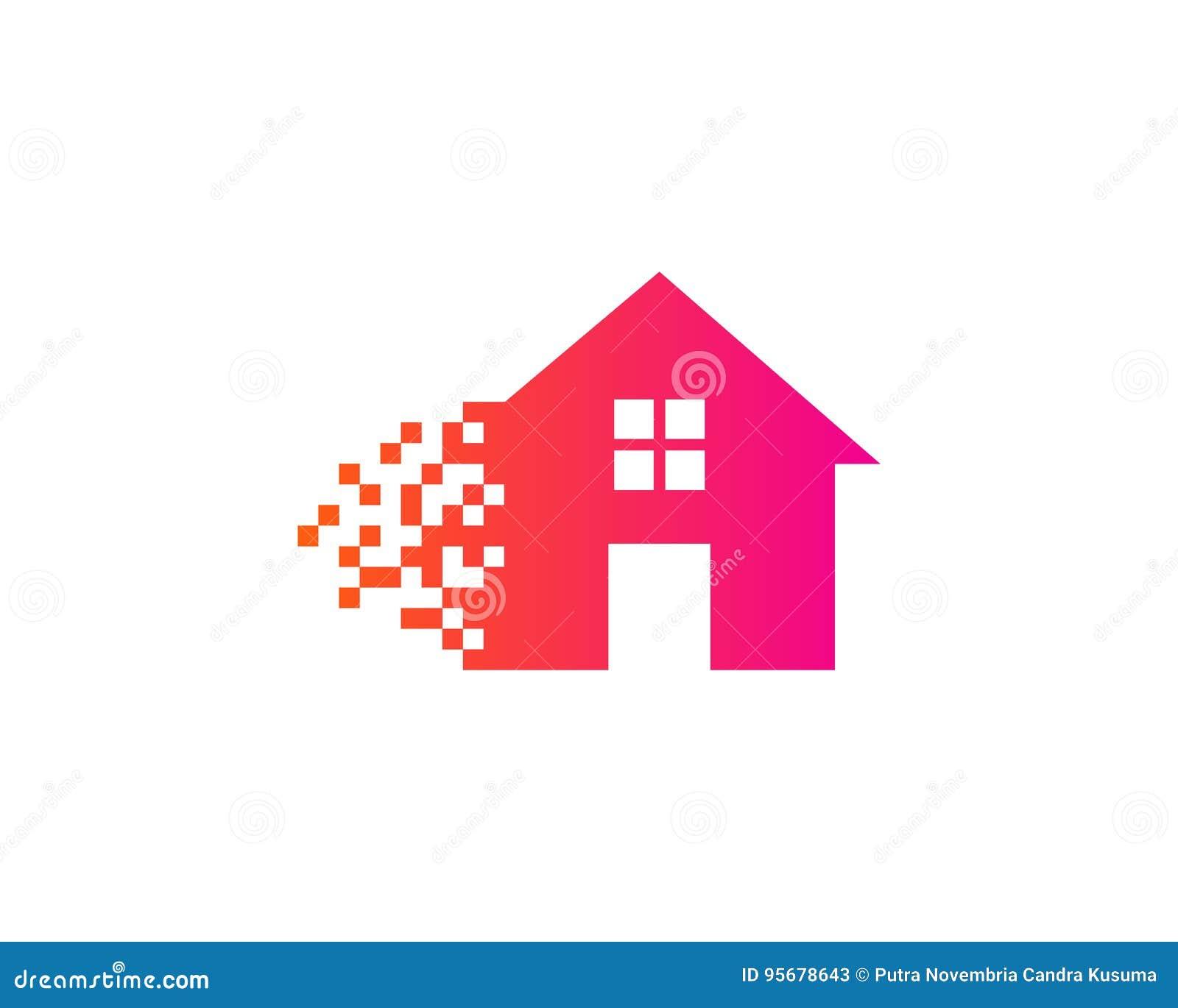 Pixel-Haus-Ausgangsikone Logo Design Element Vektor Abbildung ...