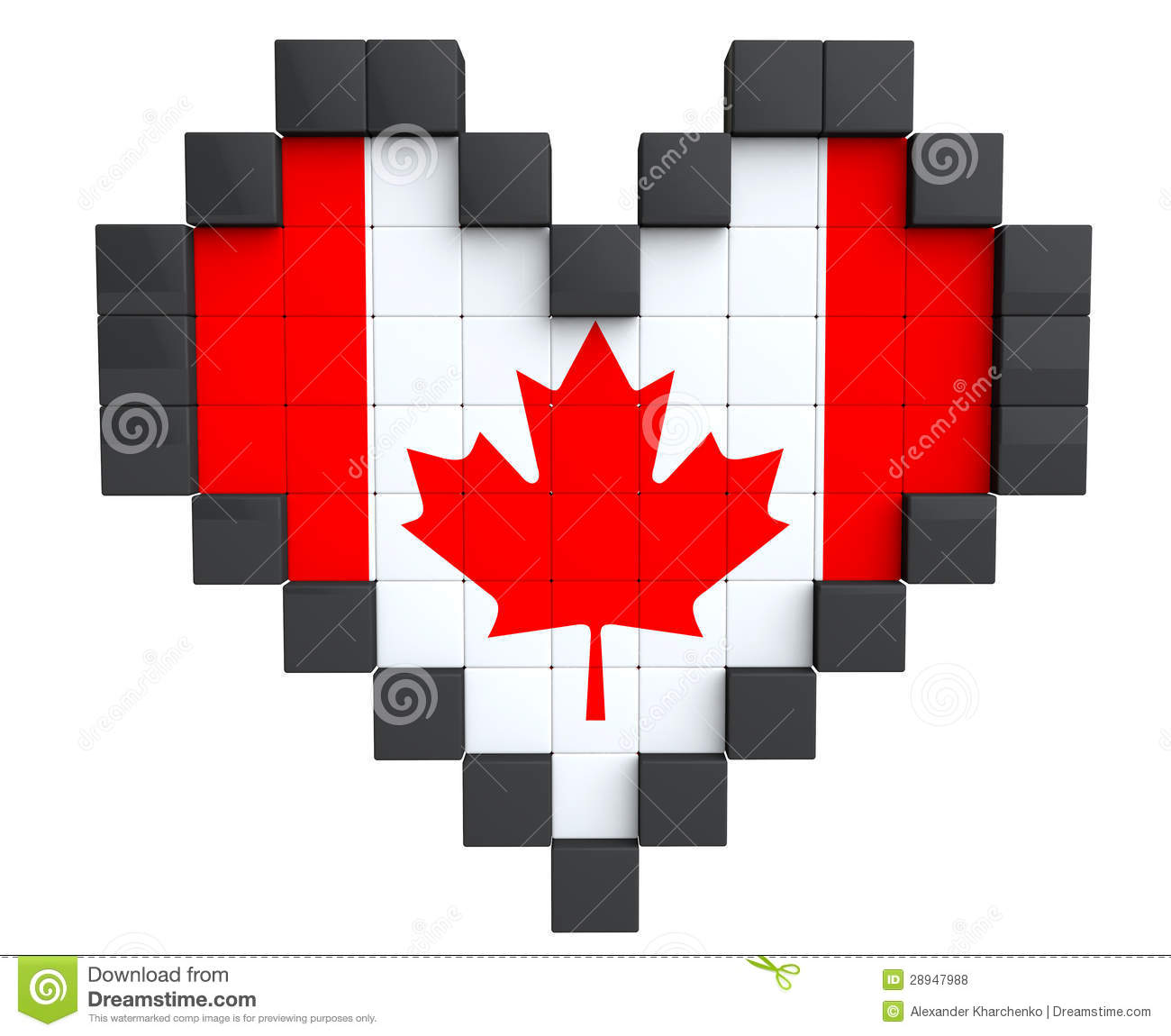 pixel heart as canada flag royalty free stock photos image 28947988