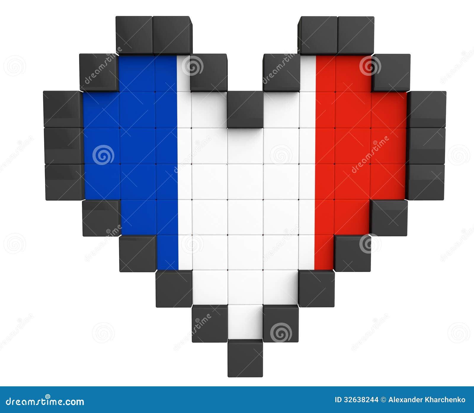 Pixel Heart As France Flag Stock Illustration Illustration