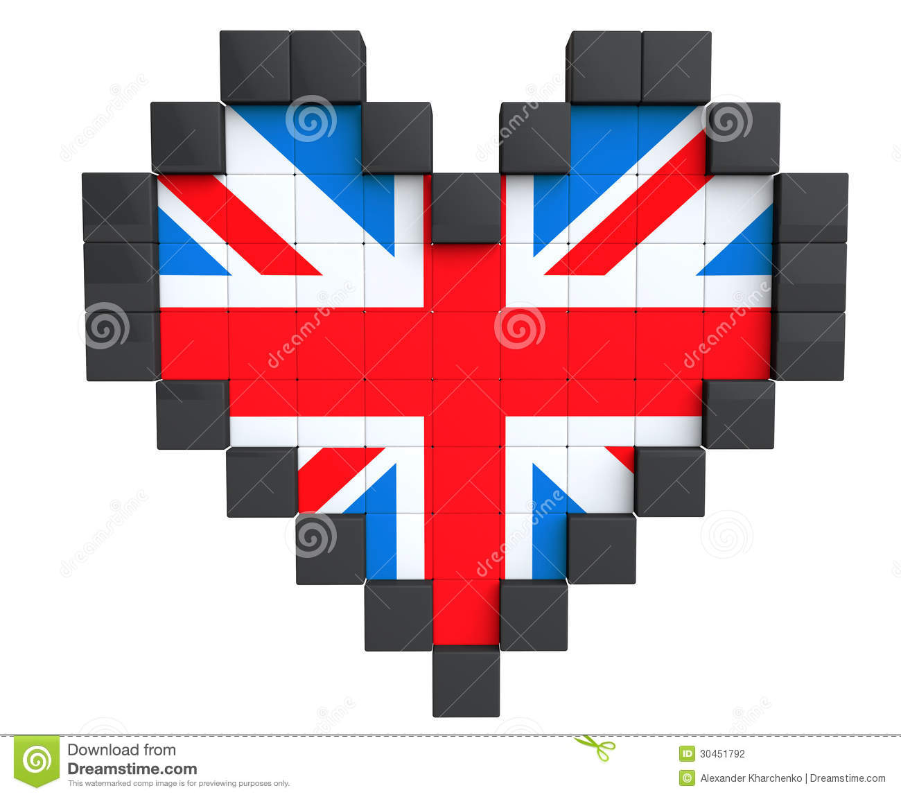 Pixel Heart As United Kingdom Flag Stock Illustration
