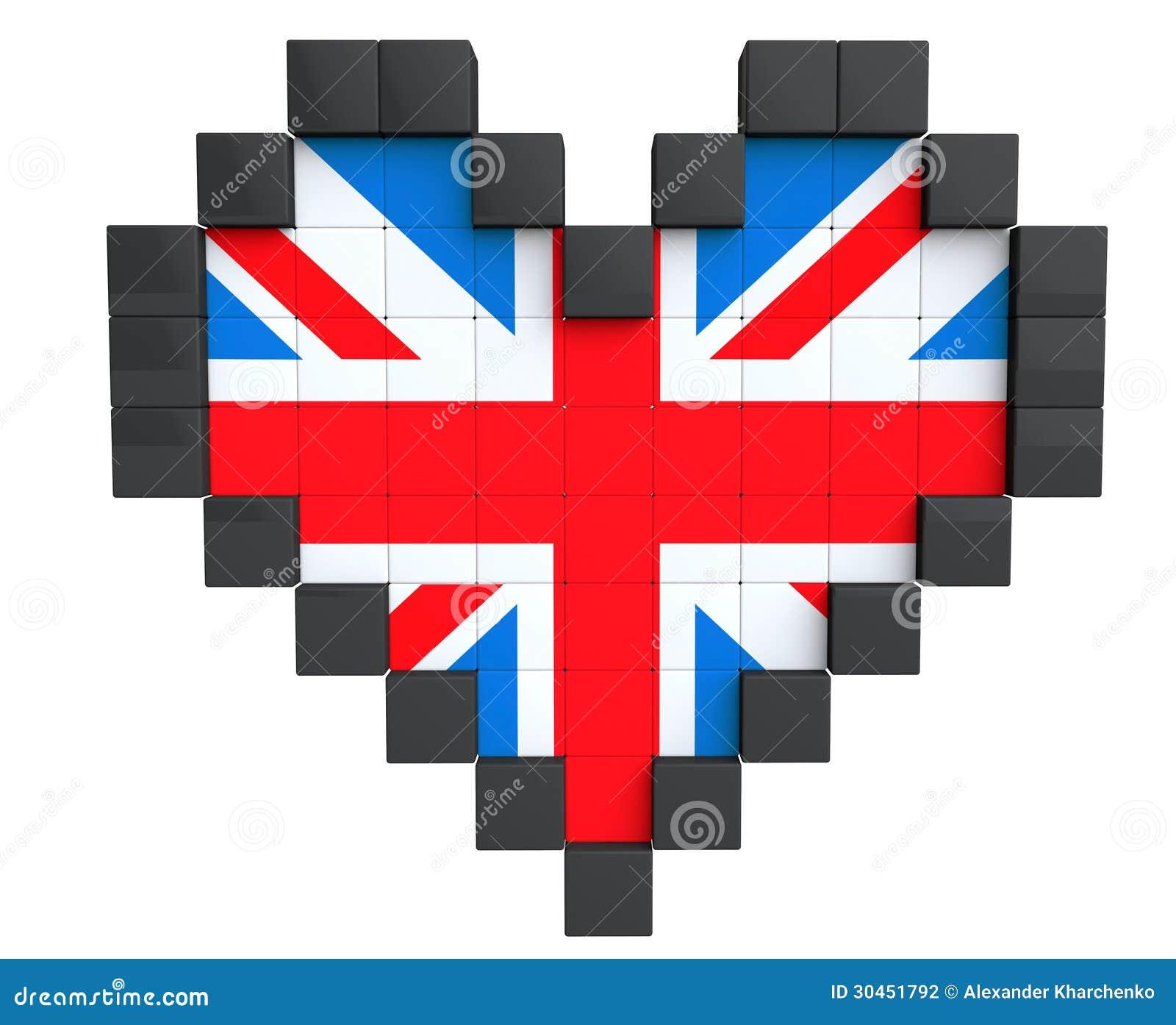 Pixel Heart As United Kingdom Flag Stock Illustration Illustration Of Flag Heart 30451792