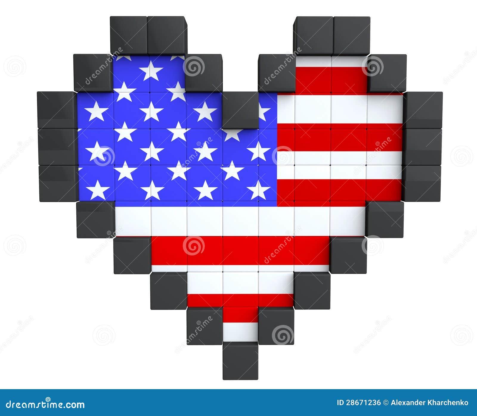 Pixel Heart as USA Flag stock illustration. Illustration of color - 28671236
