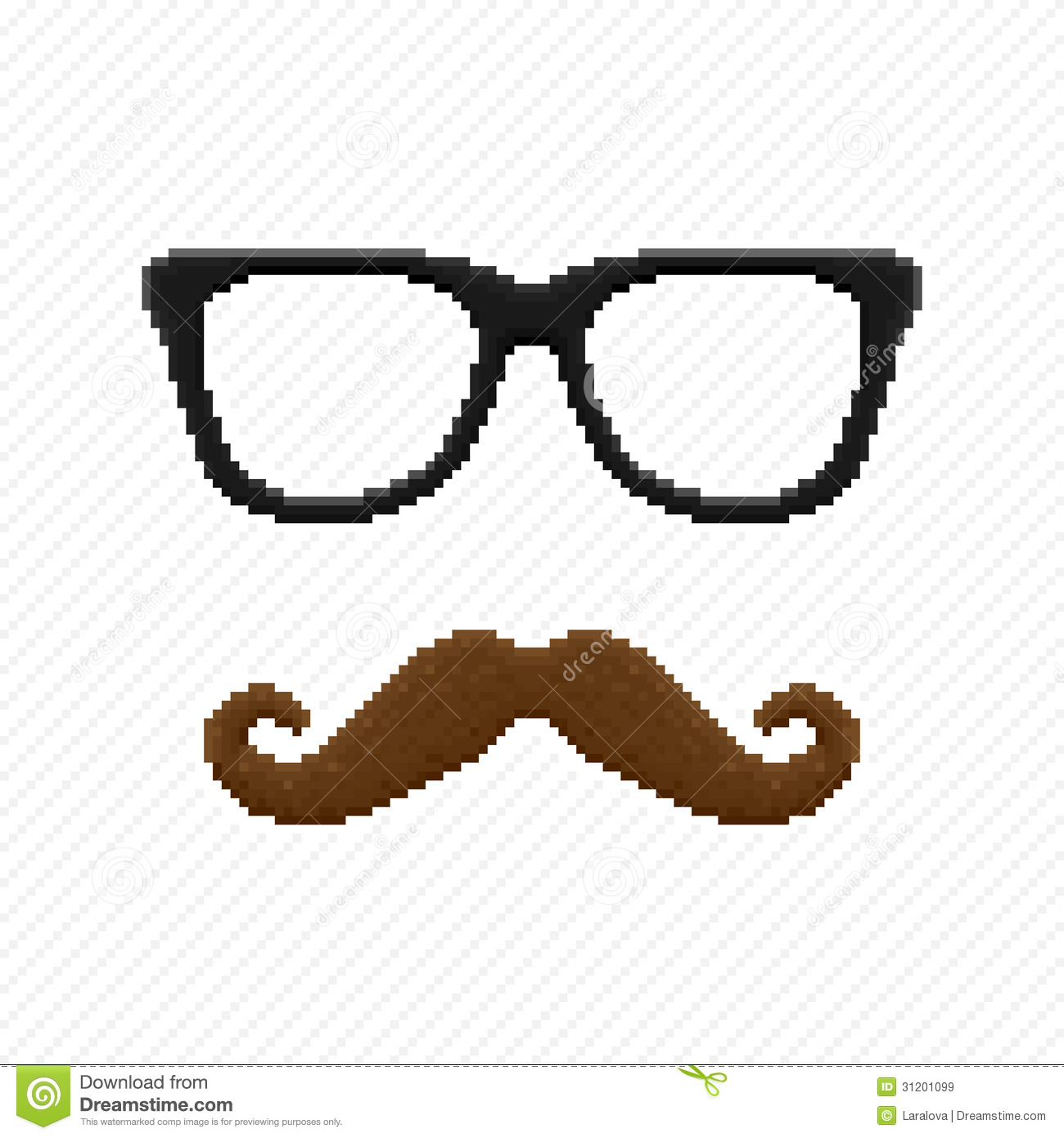 Pixel Hipster Glasses And Mustache Stock Vector Illustration Of