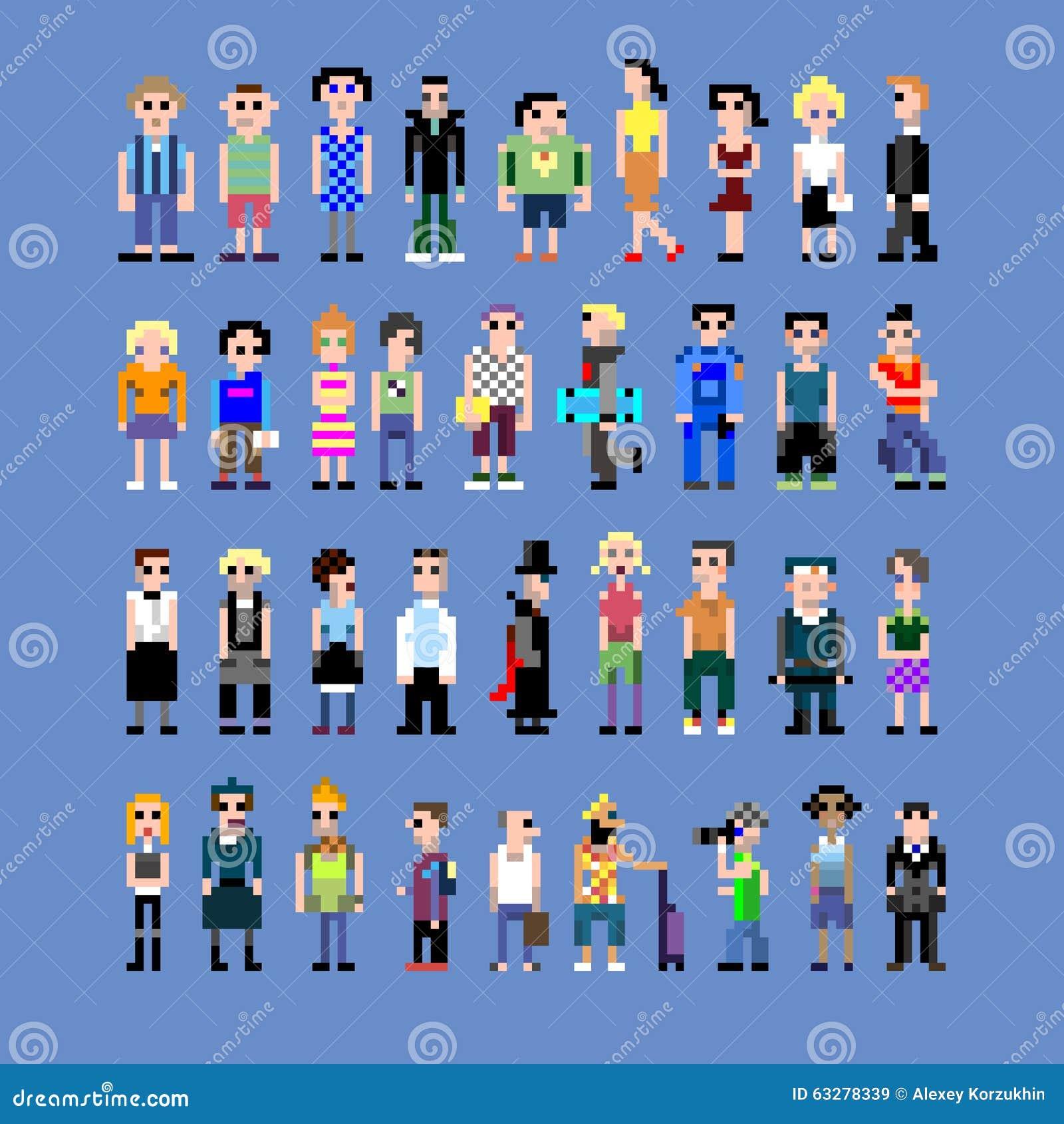 Pixel people stock vector. Illustration of humans, secretary - 63278339