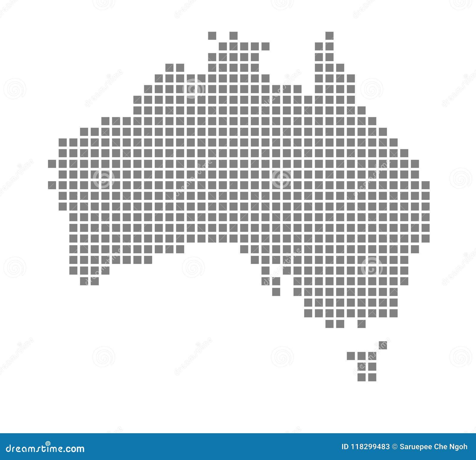 Australia Map Vector.Pixel Map Of Australia Vector Dotted Map Of Australia