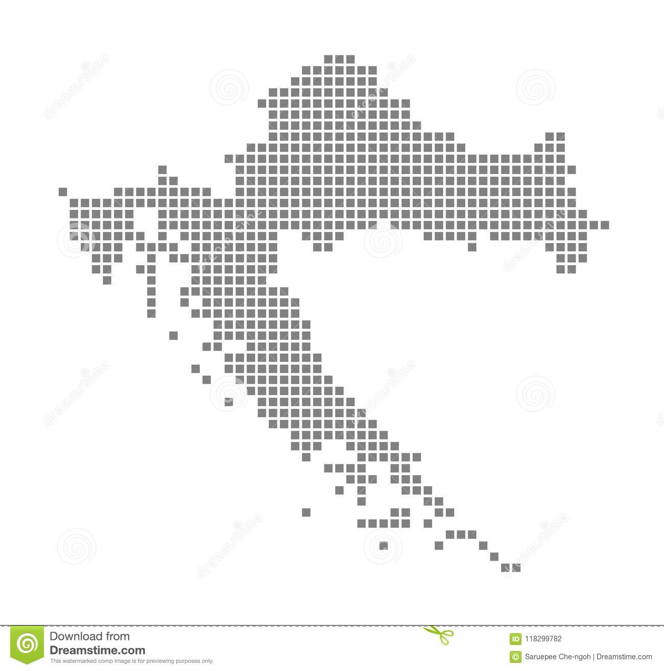 Pixel Map Of Croatia. Vector Dotted Map Of Croatia Isolated On White ...