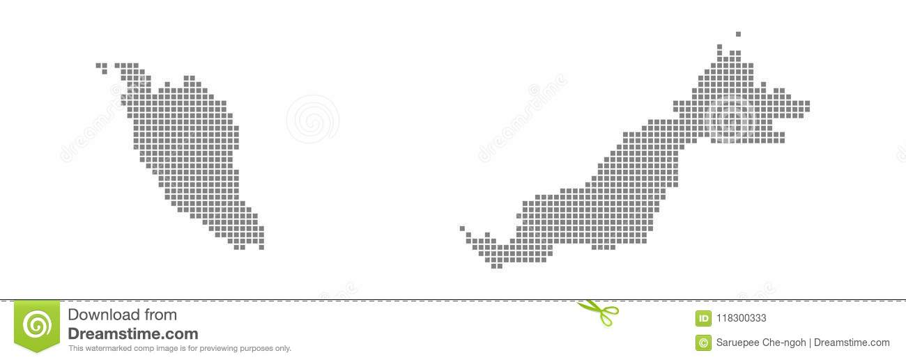 Pixel Map Of Malaysia. Vector Dotted Map Of Malaysia Isolated On ...