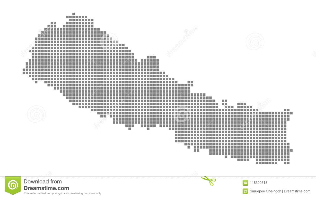Pixel Map Of Nepal. Vector Dotted Map Of Nepal Isolated On White ...