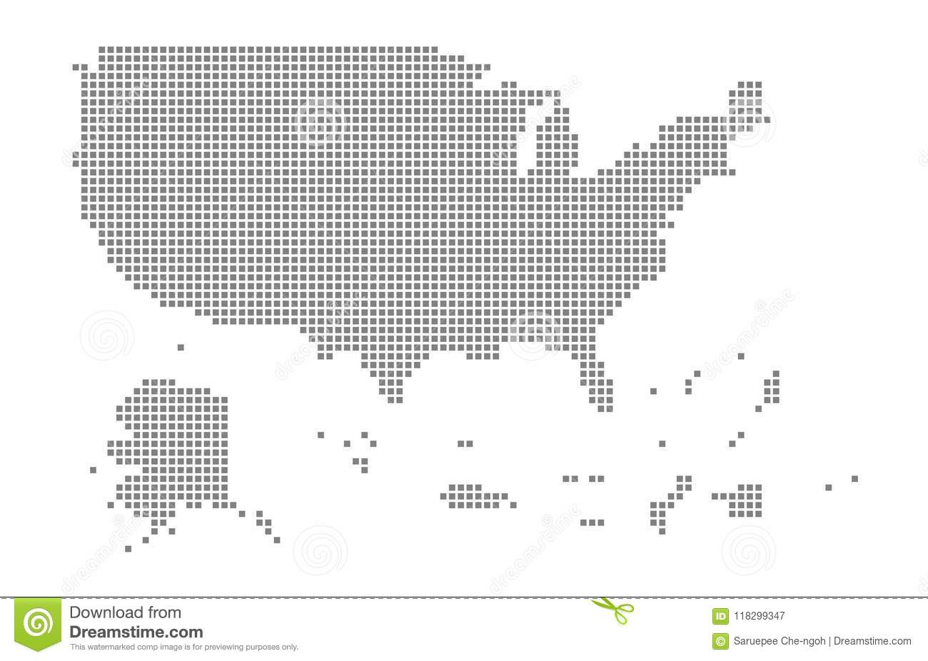 Pixel Map Of Usa Territories  Vector Dotted Map Of Usa