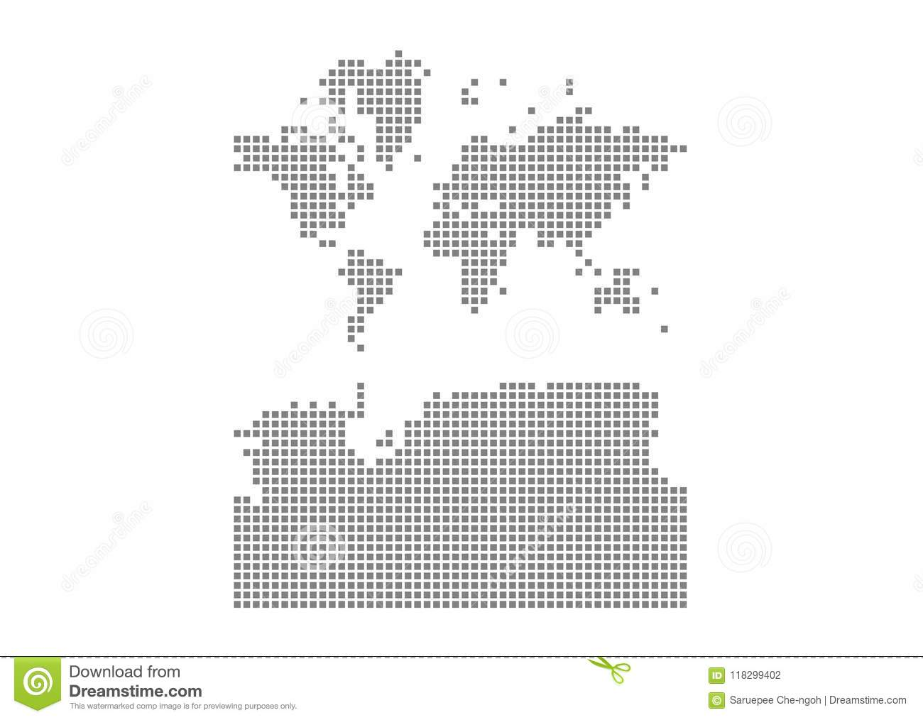 Pixel map of World With Antarctica. Vector dotted map of World With Antarctica isolated on white background. Abstract computer gra