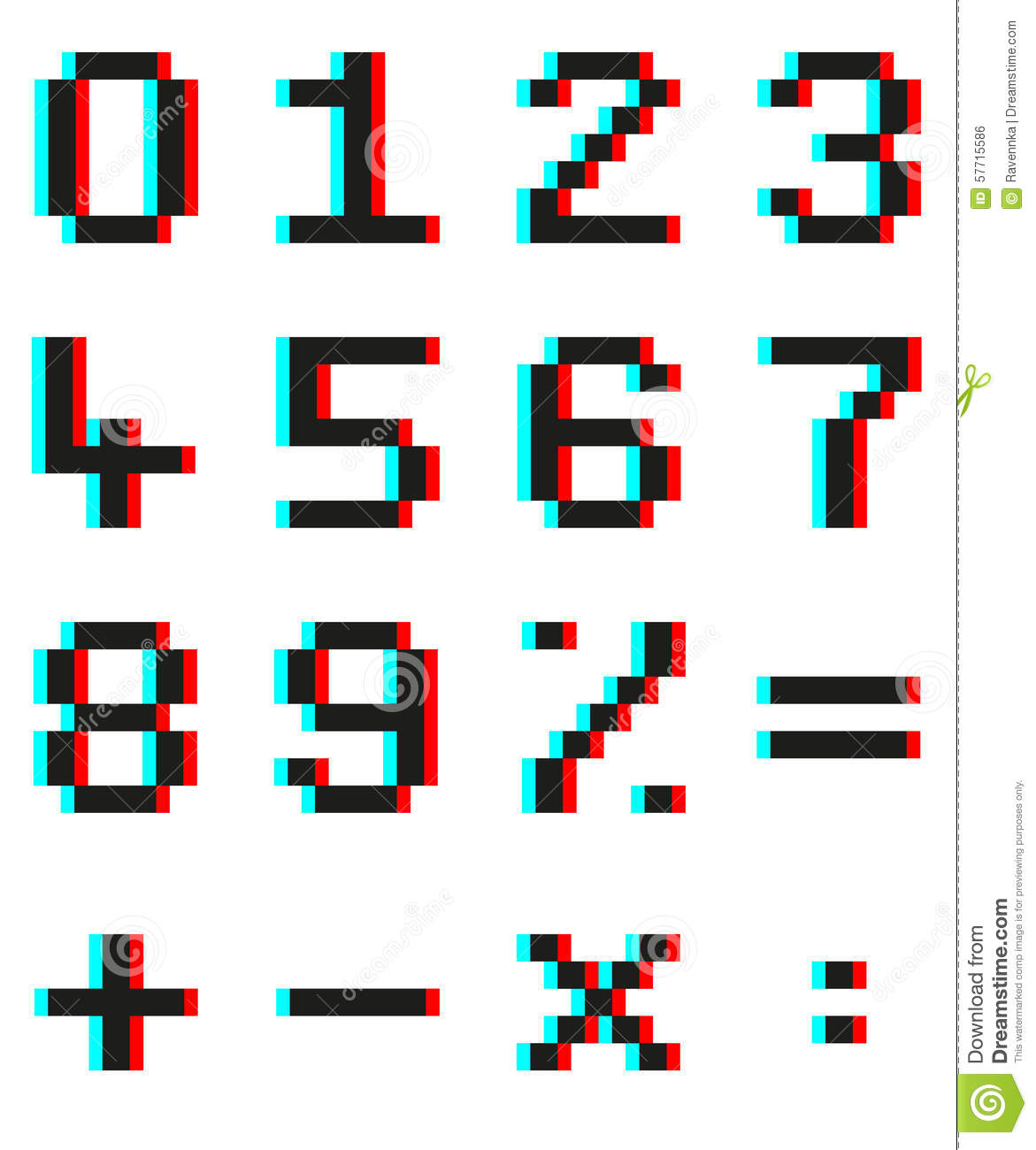 Pixel Numbers And Mathematical Signs With Anaglyph 3d