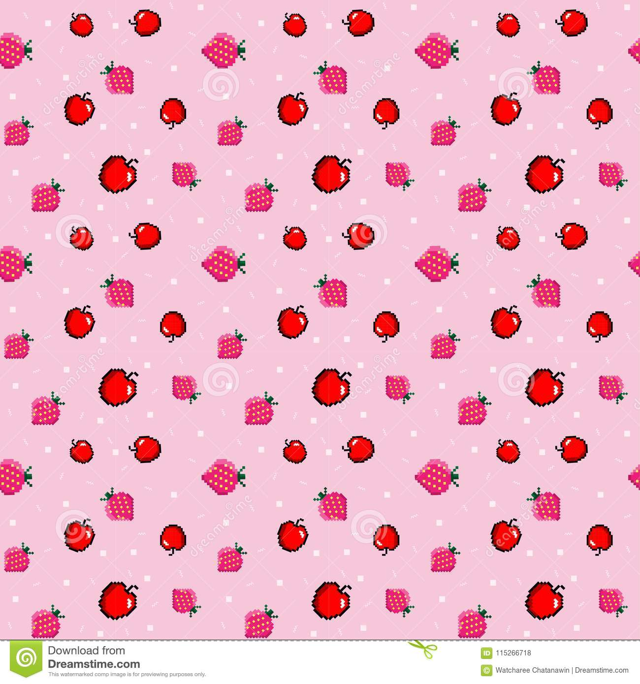 The Pixel Pattern With Apple And Strawberry. Vector