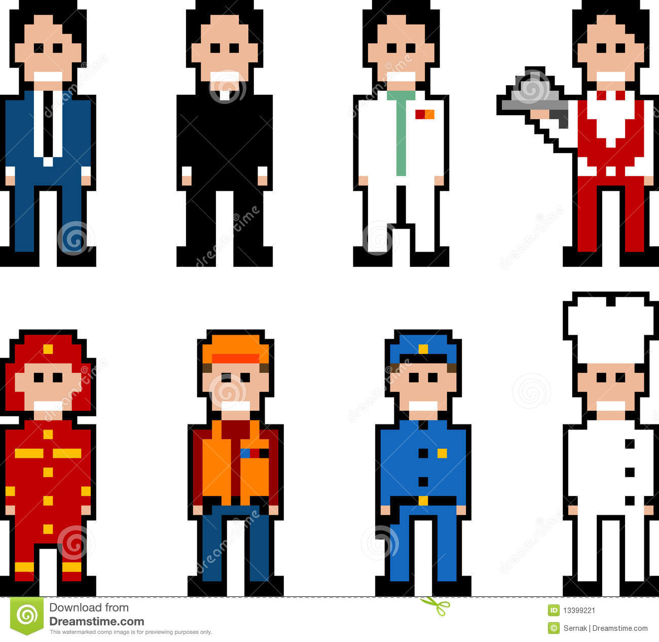 Pixel People Occupation Stock Vector Illustration Of