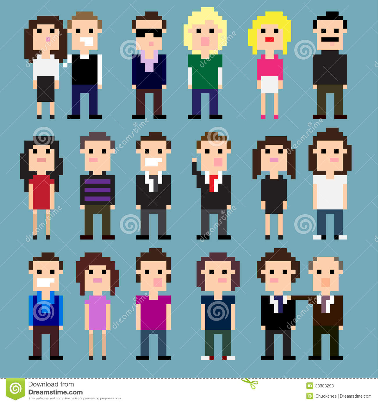 Pixel People stock vector. Illustration of business, community - 33383293