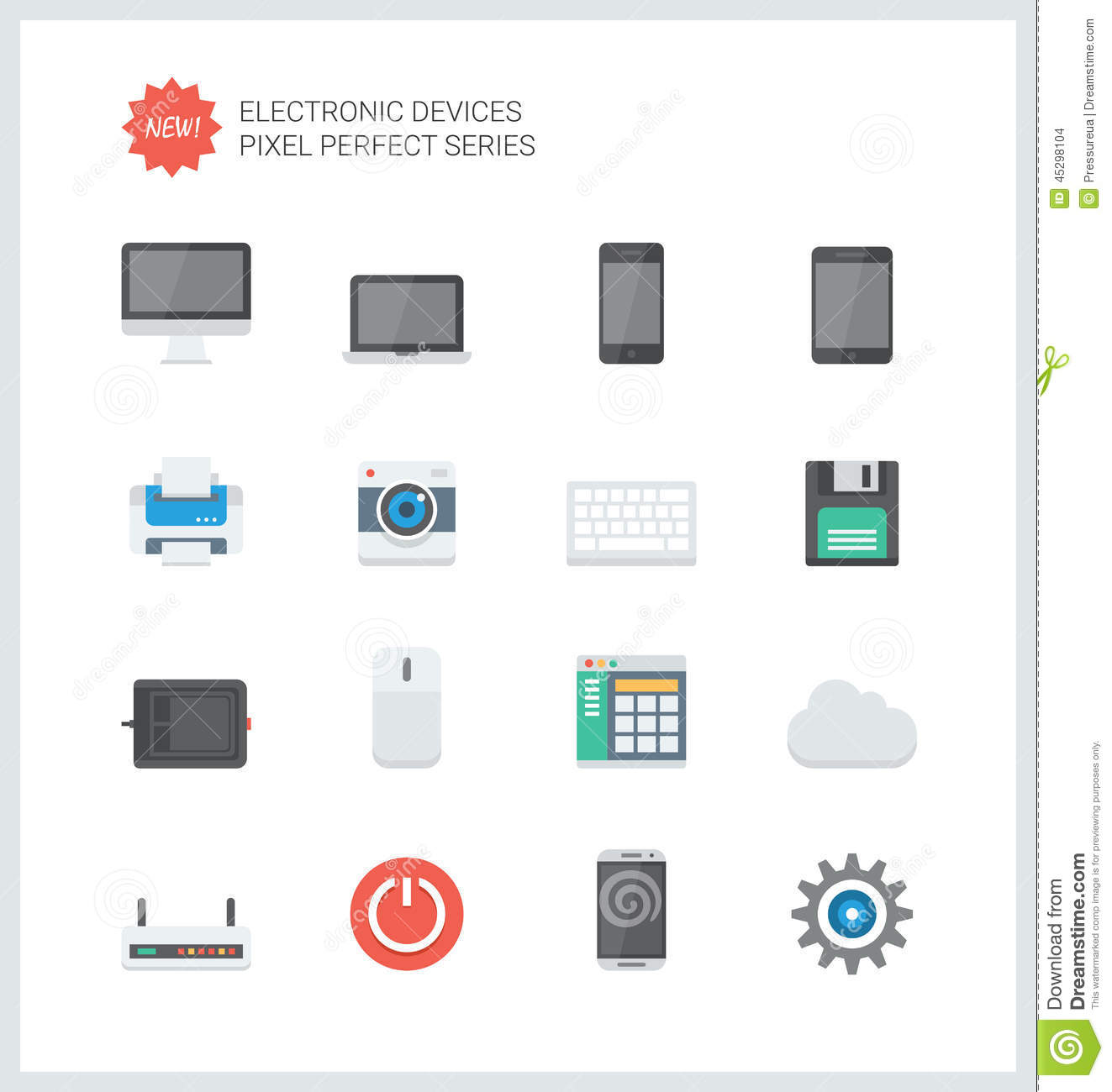 Pixel Perfect Electronic Devices Flat Icons Stock Vector