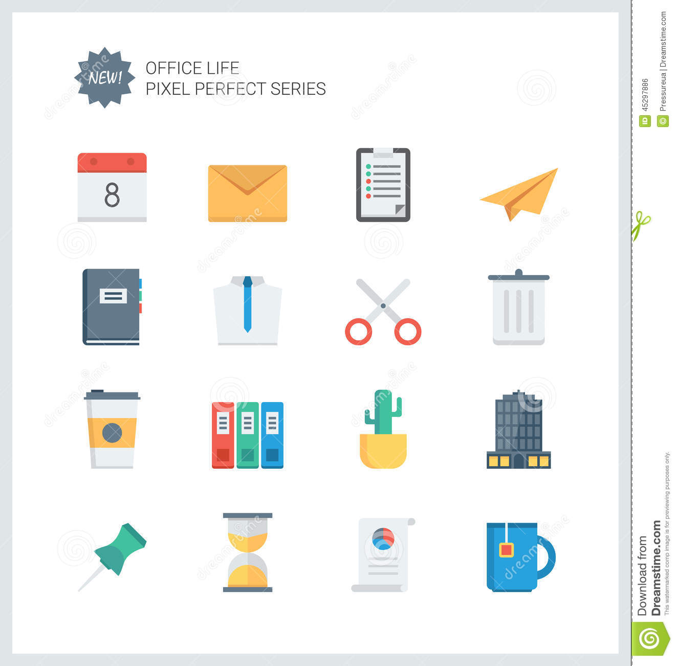 office design tool pixel perfect office tools flat icons stock vector image