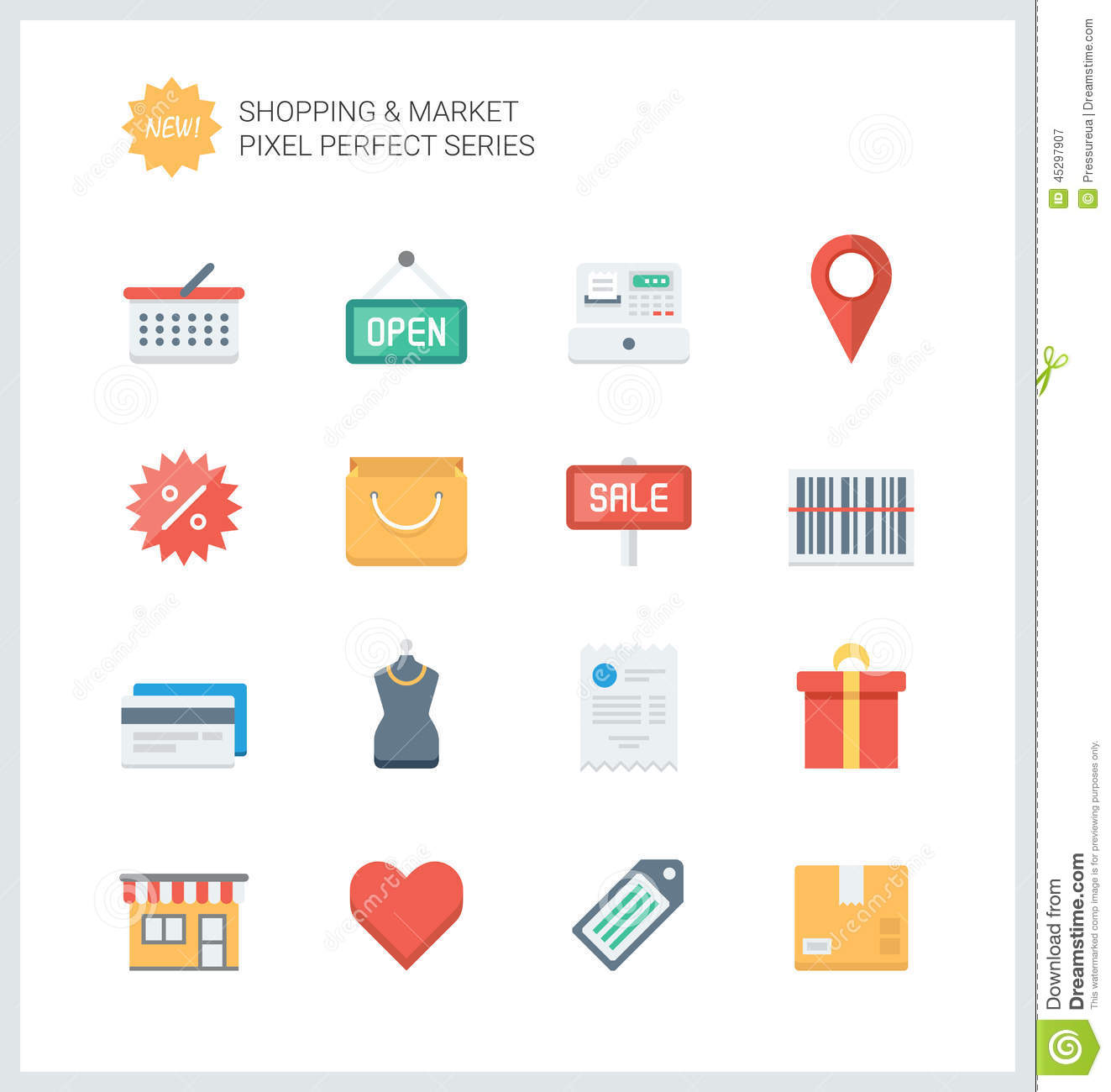 Pixel Perfect Shopping And Market Flat Icons Stock Vector