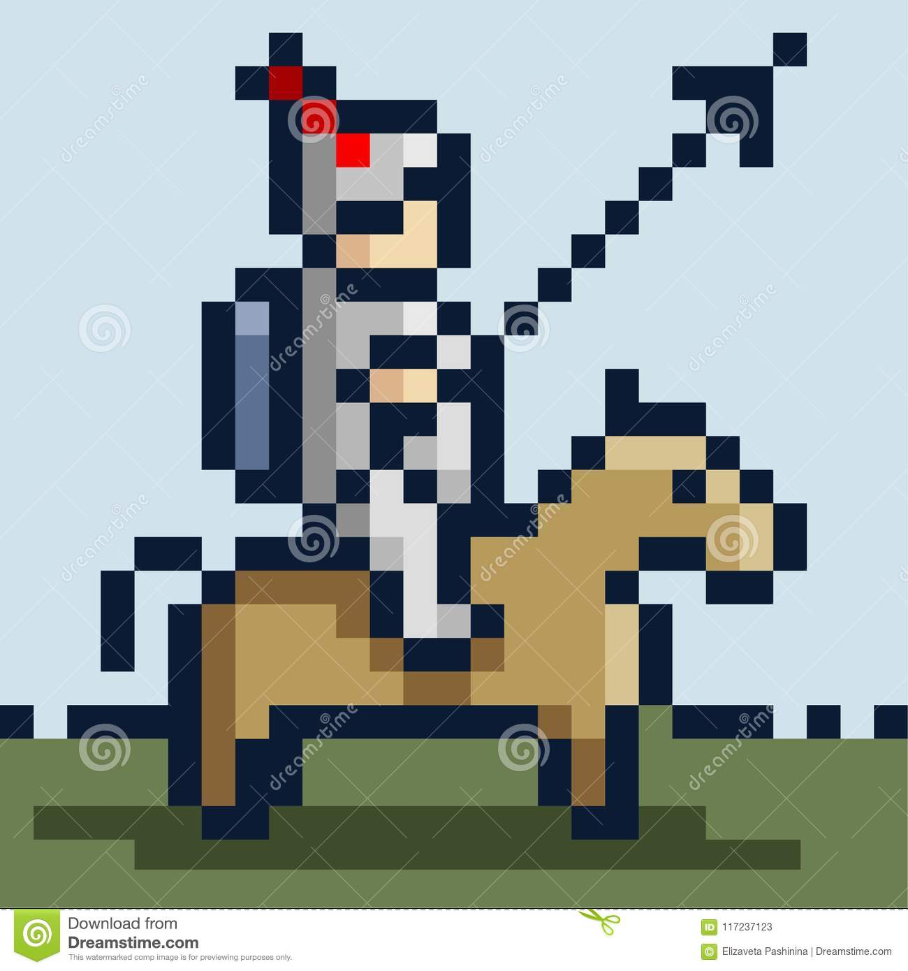 Pixel Picture Of A Knight In Iron Armor On A Horse And With A Spear