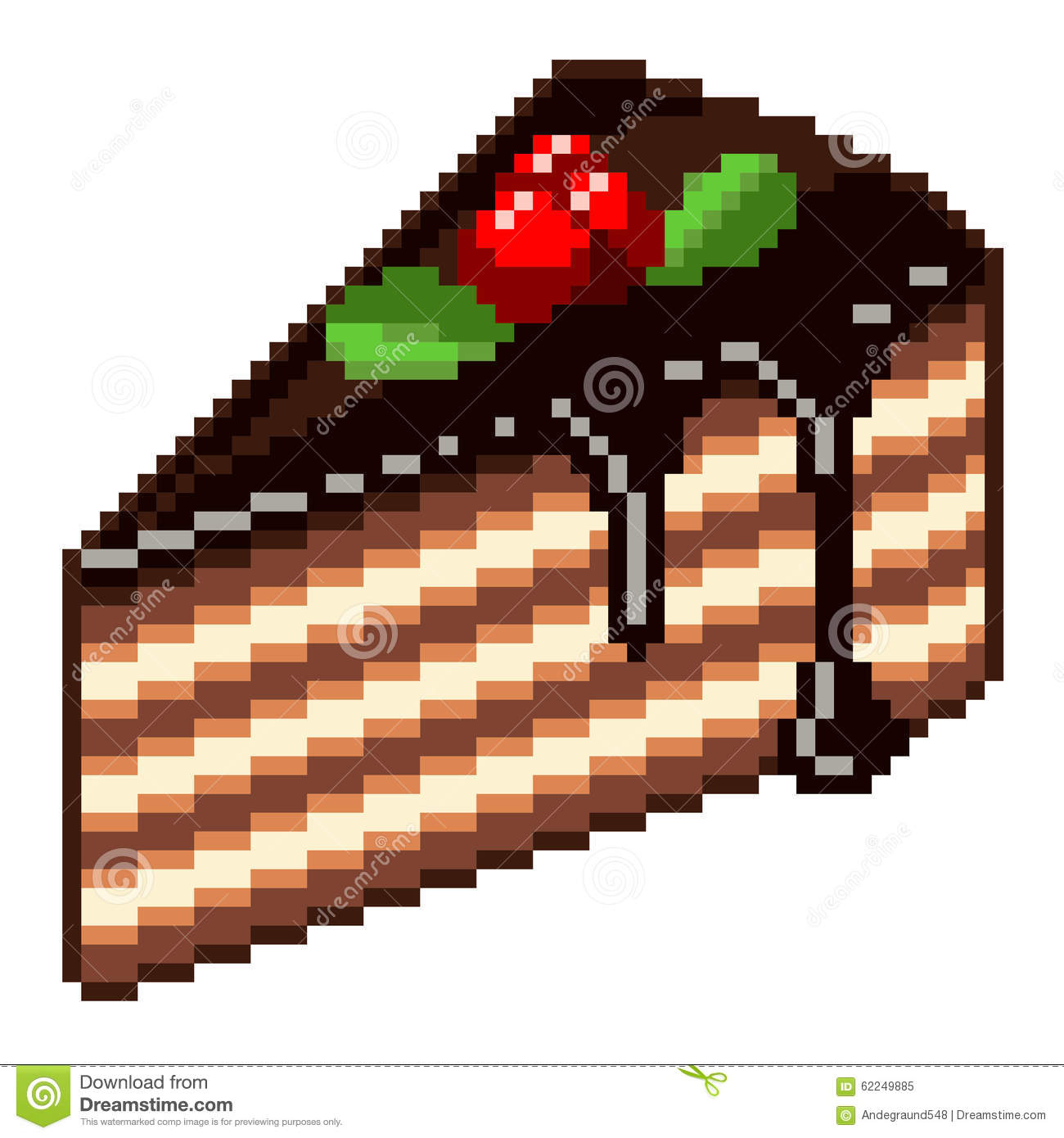 Pixel Piece Of Cake Vector Stock Vector Illustration Of