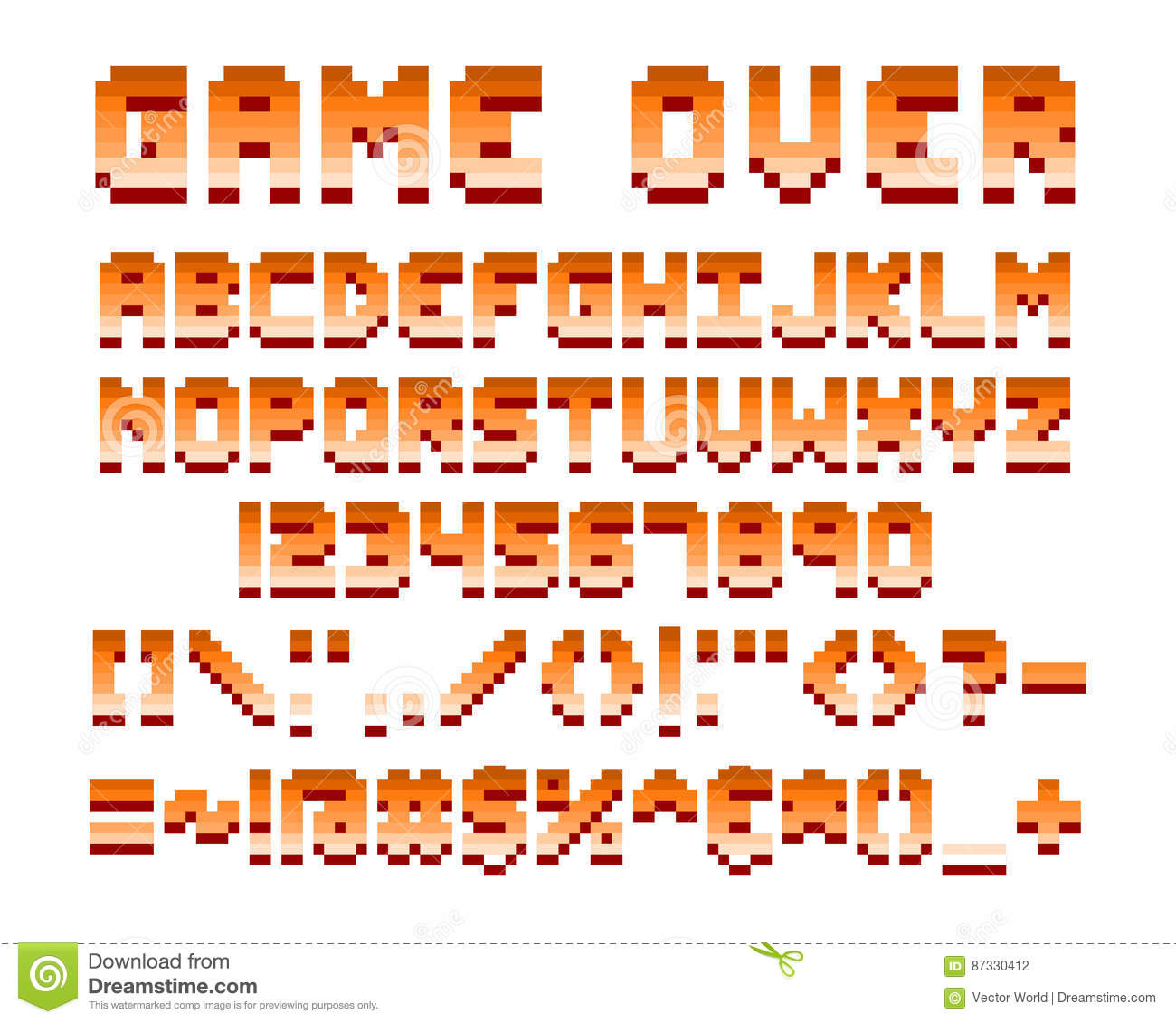 Pixel Retro Font Computer Game Design Vector Illustration