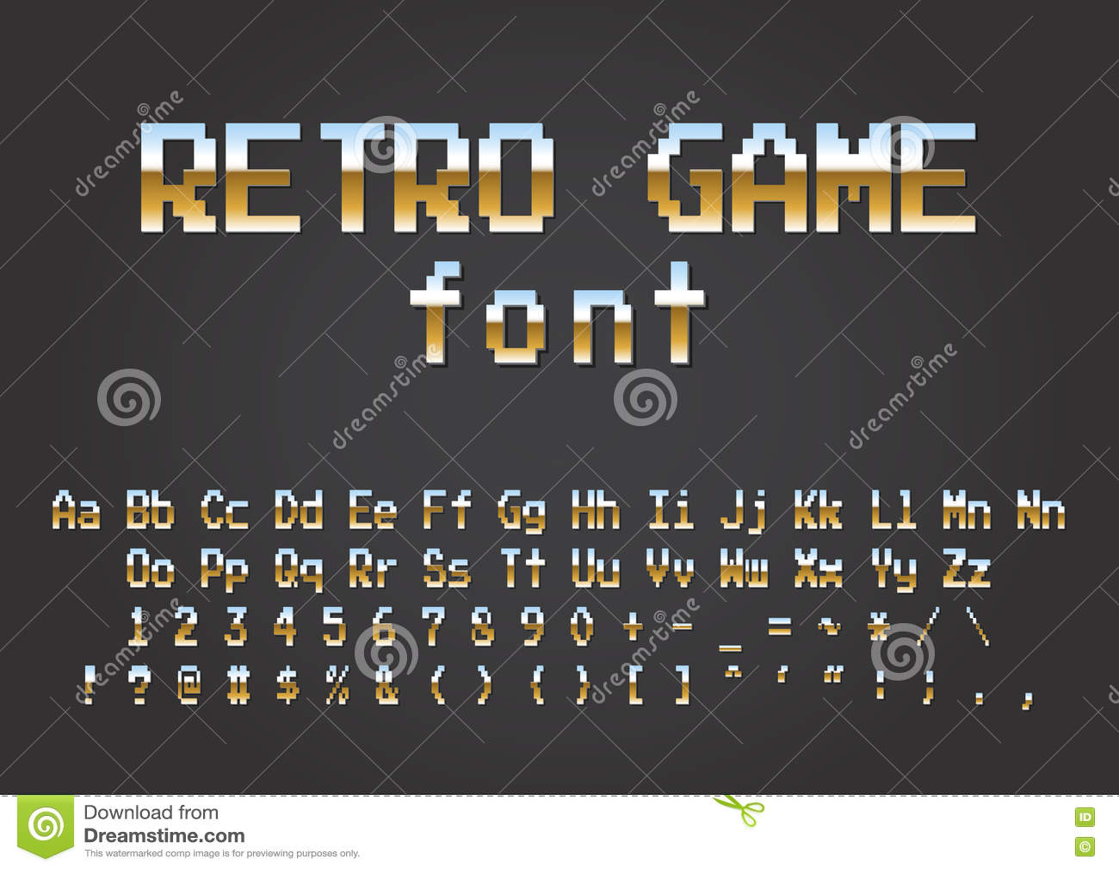 Pixel Retro Font Video Computer Game Design Bit Stock Vector - Game design download