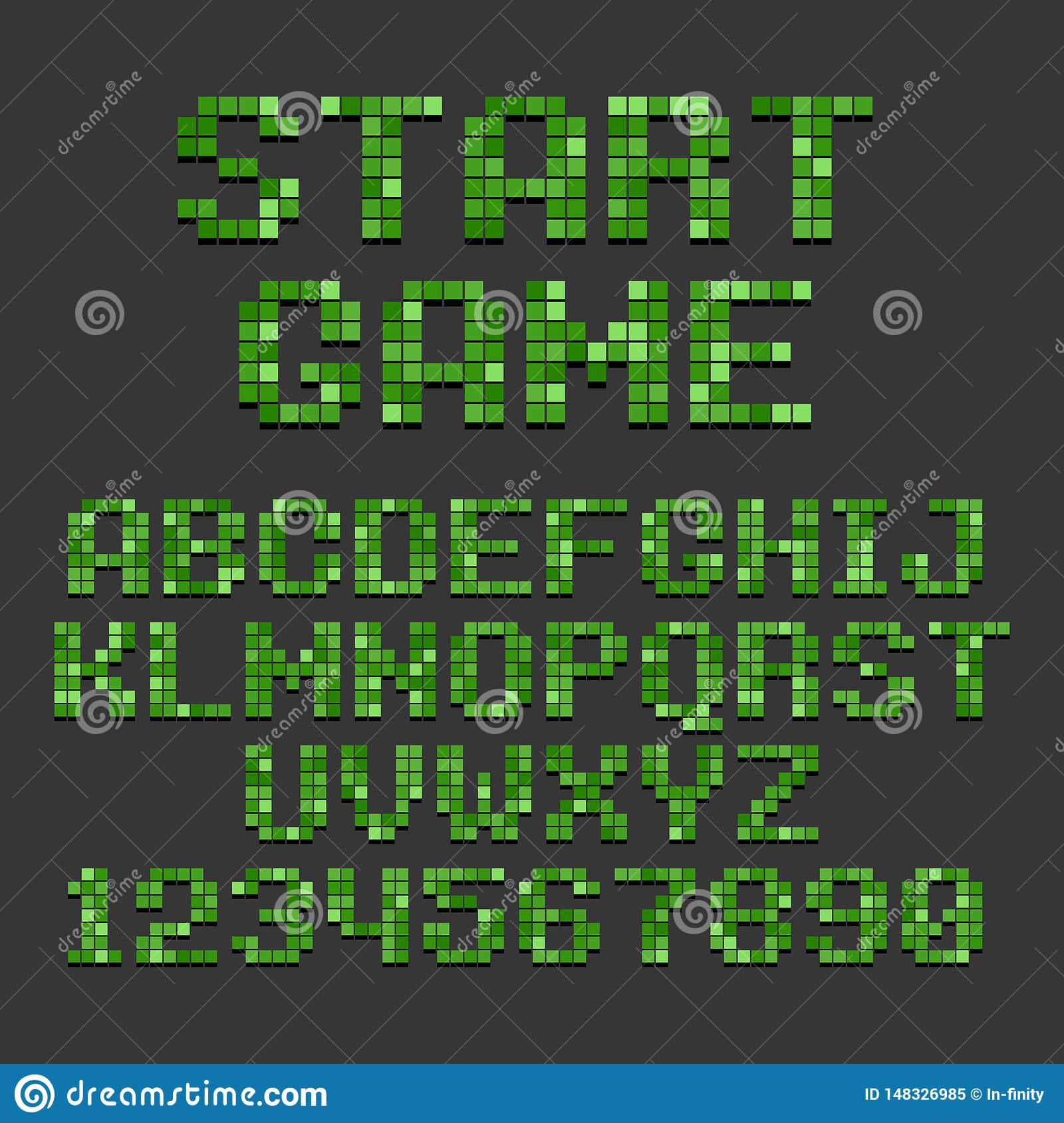 Pixel Retro Style Video Game Font. Vector Stock Vector