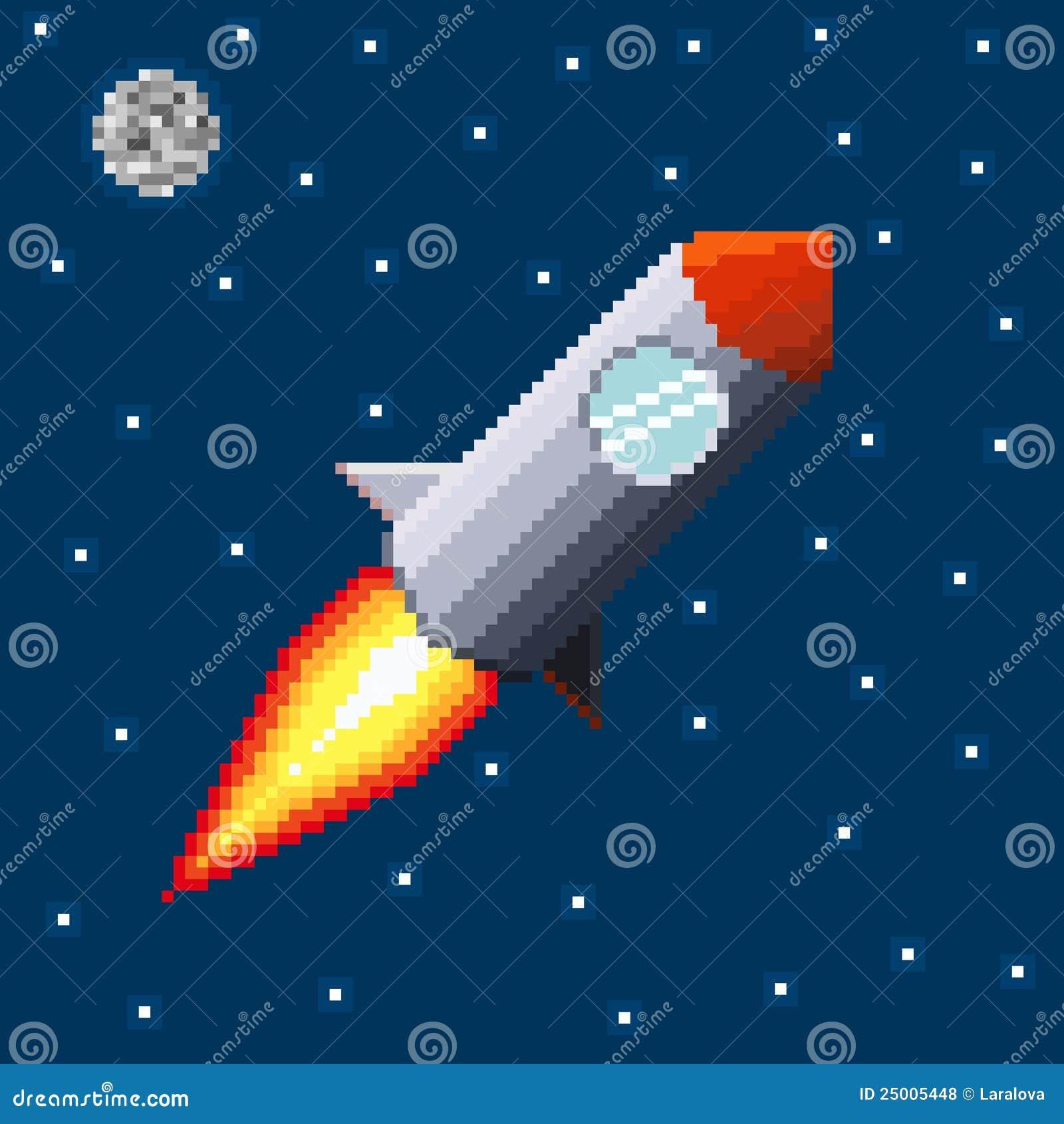 Pixel Rocket In Space Stock Vector. Illustration Of