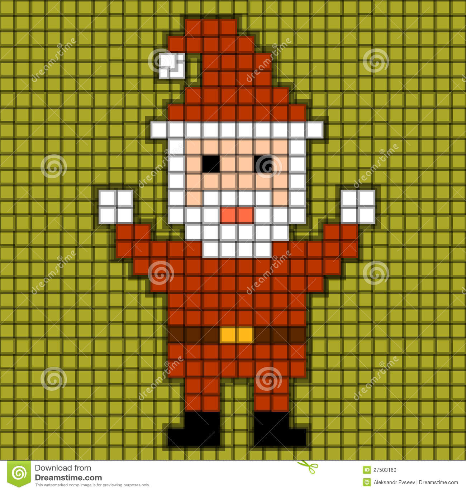 Pixel Santa. Tema Di Natale. Illustrazione Di Stock
