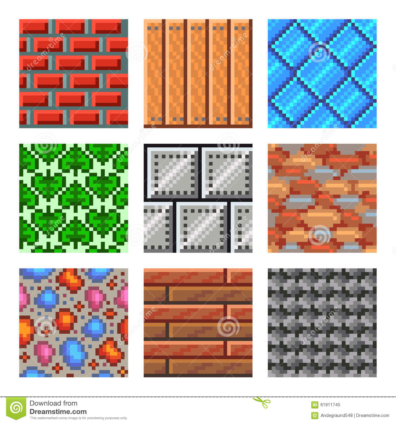 Pixel Seamless Textures For Games Icons Vector Set Stock