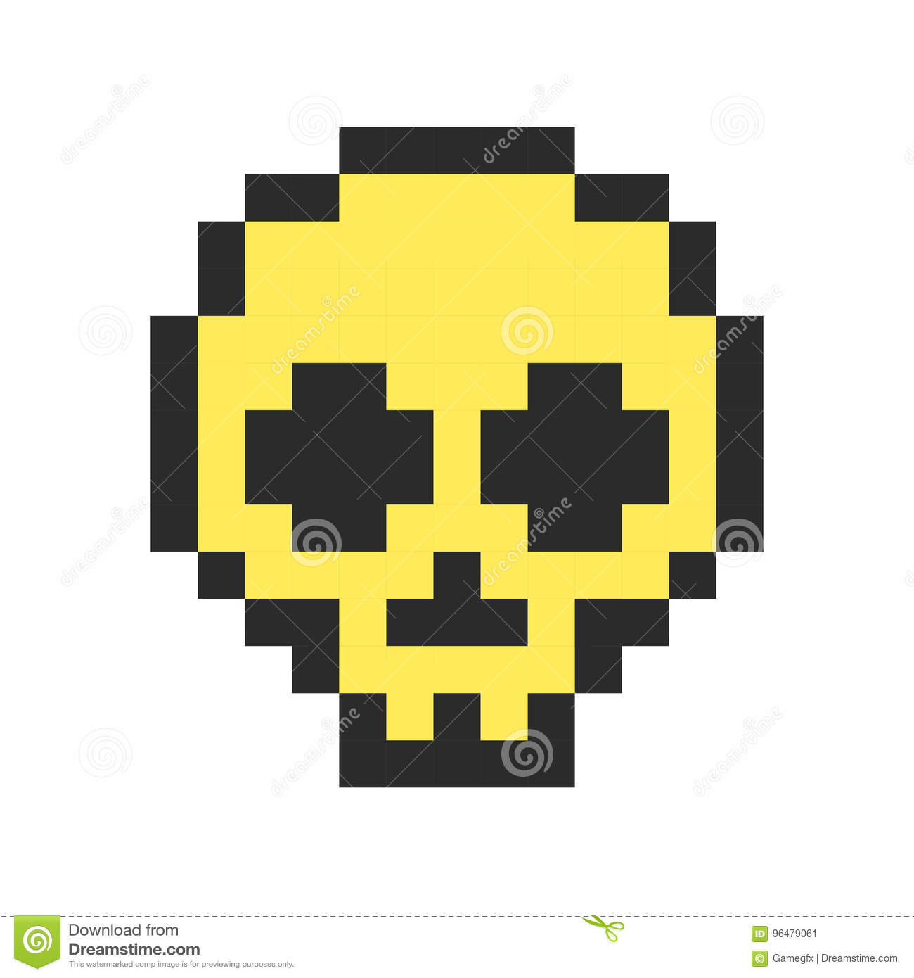 Pixel Skull Pixel Art Cartoon Retro Game Style Stock Vector