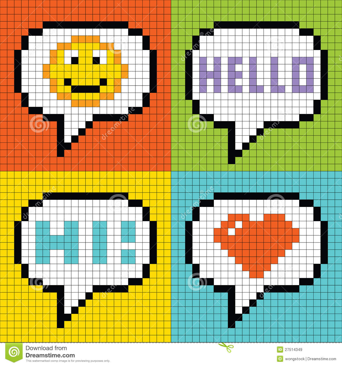 8 Bit Pixel Social Networking Speech Bubbles Smil Stock