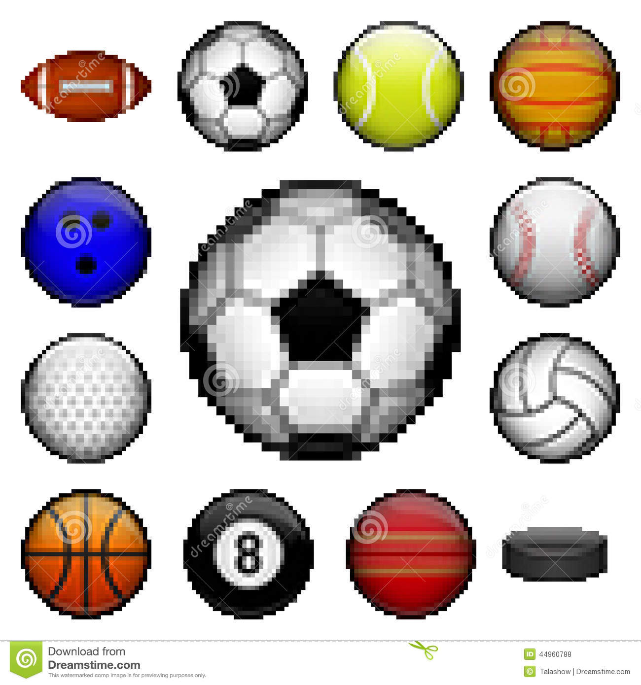 Vector set of pixel sport balls for different games.