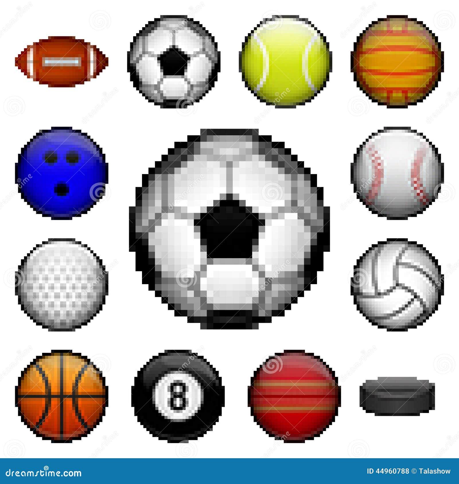 Vector set of pixel sport balls for different games.