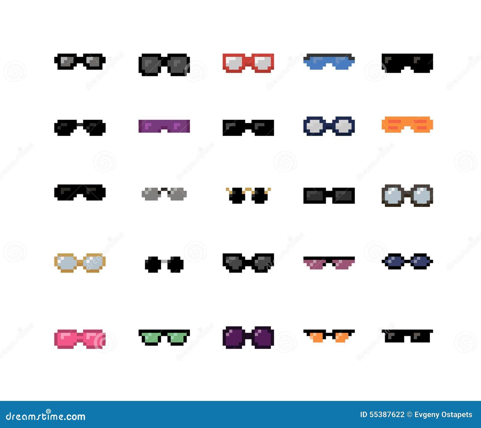436bbe0903ebc Pixel Sunglasses Set stock vector. Illustration of spectacles - 55387622