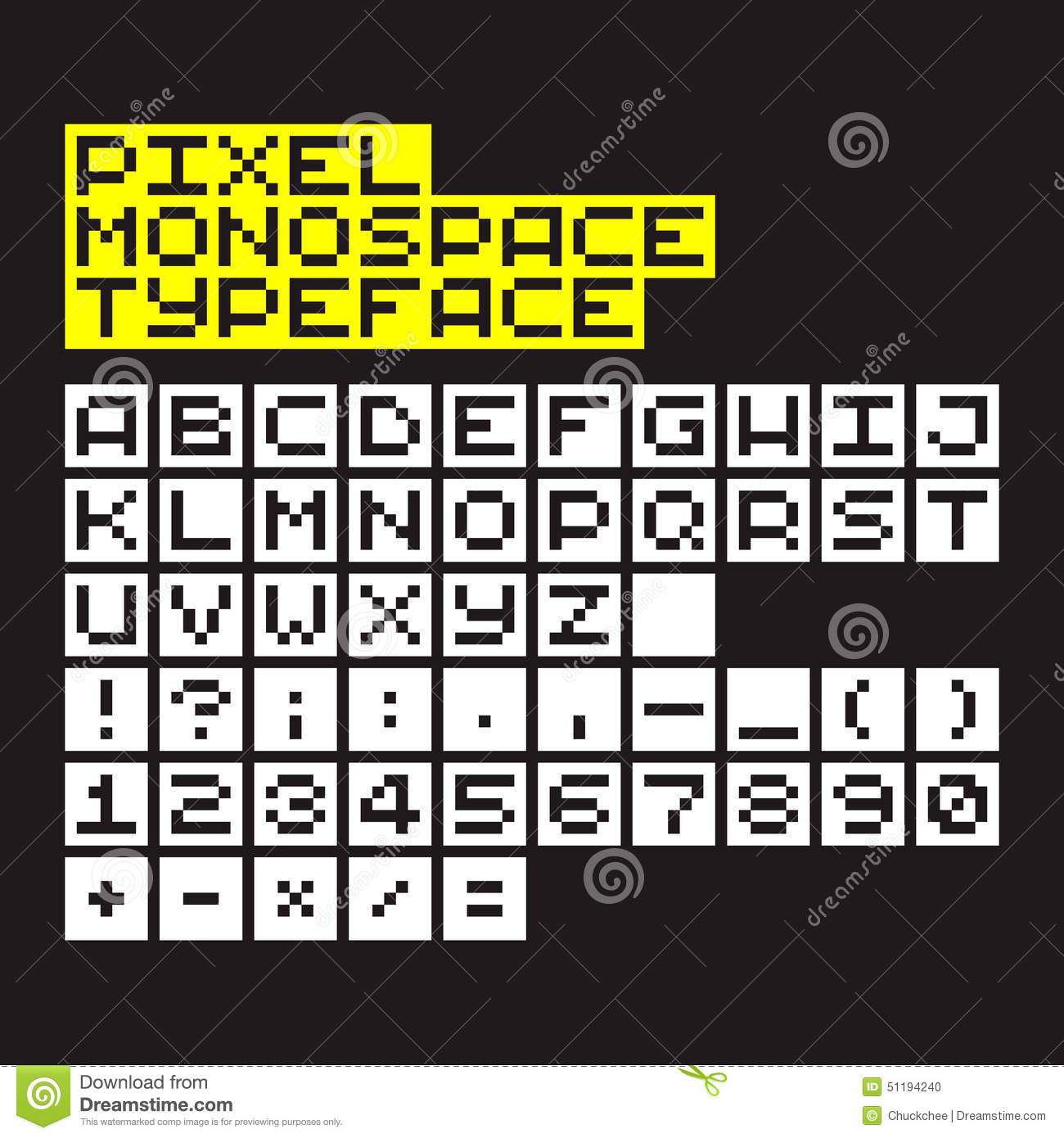 Pixel Typeface stock vector  Illustration of lettering - 51194240
