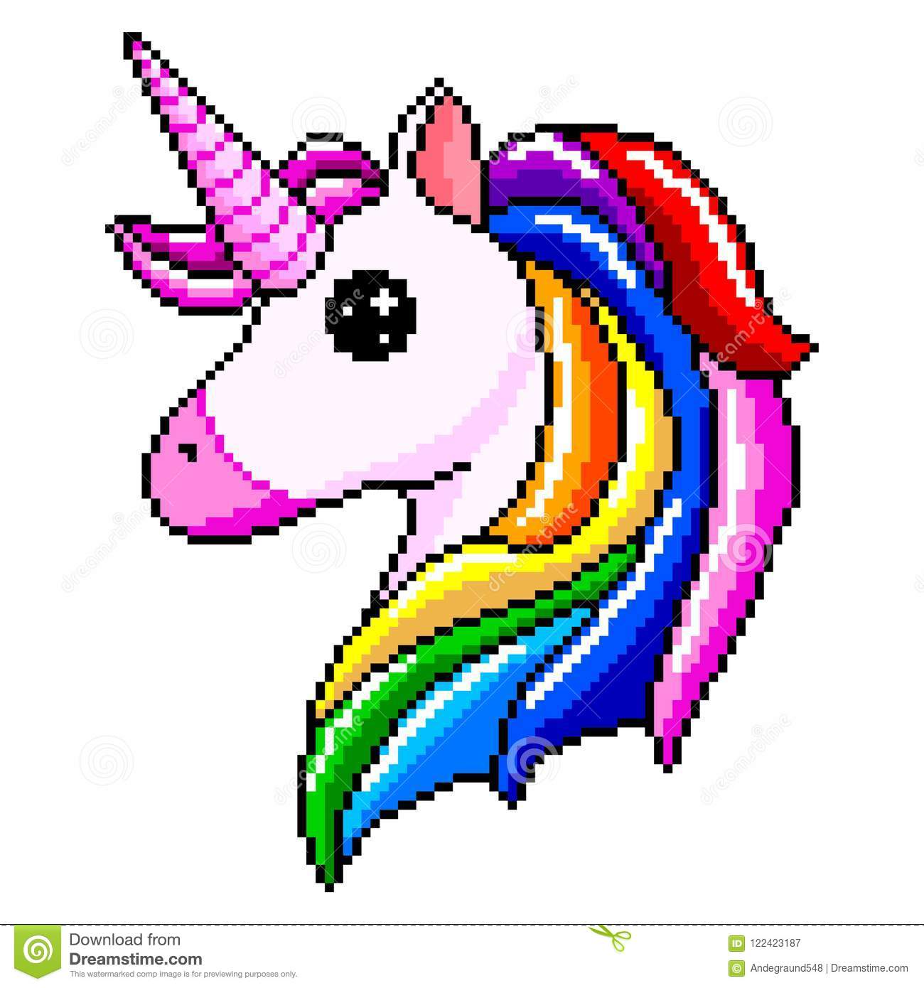 Pixel Unicorn Head Isolated Vector Stock Vector
